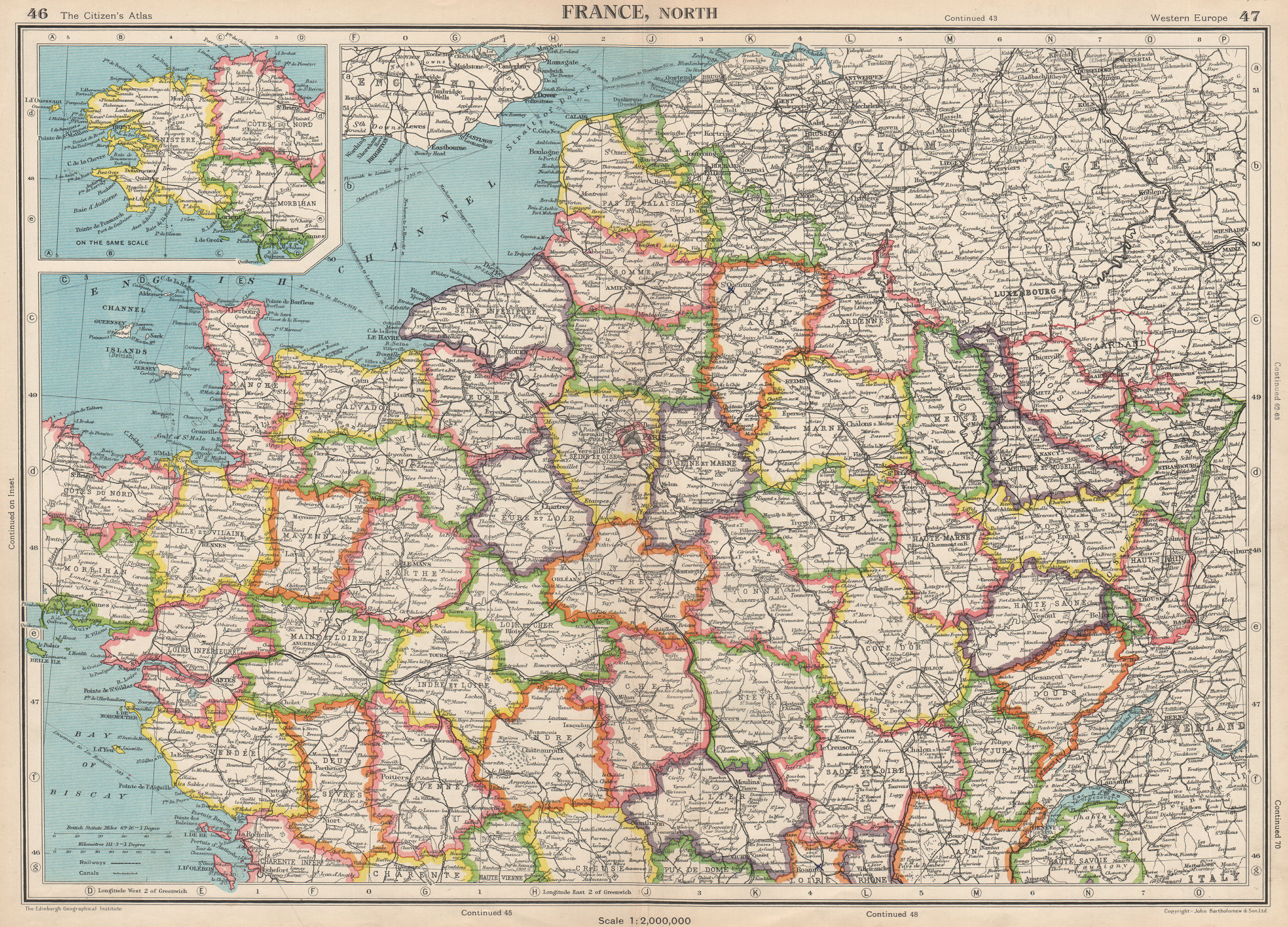 Associate Product FRANCE NORTH. Shows French-occupied Saarland protectorate. BARTHOLOMEW 1952 map
