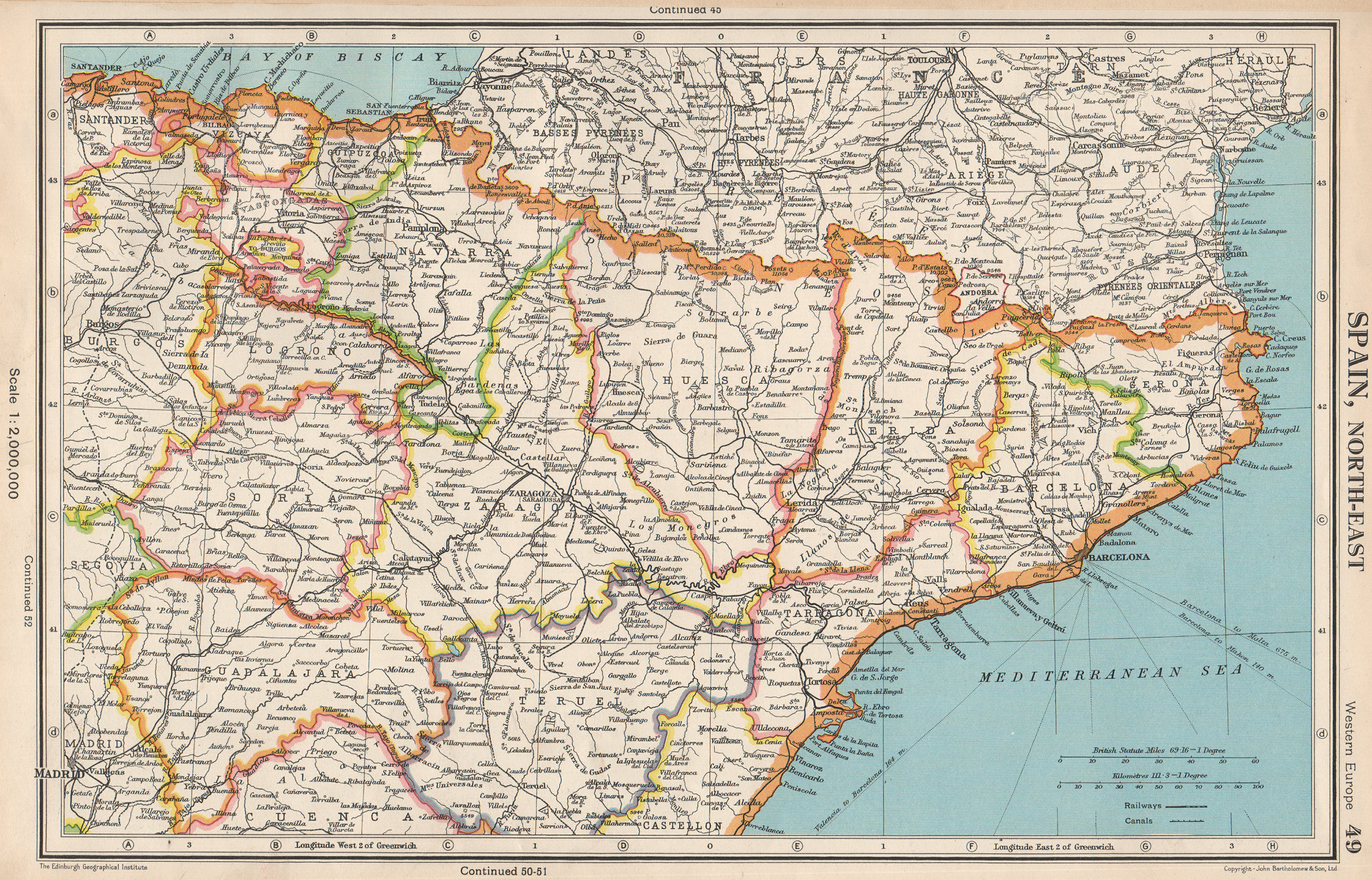 Associate Product SPAIN NORTH-EAST. Catalonia (Catalunya) Aragon Navarra Basque Country 1952 map