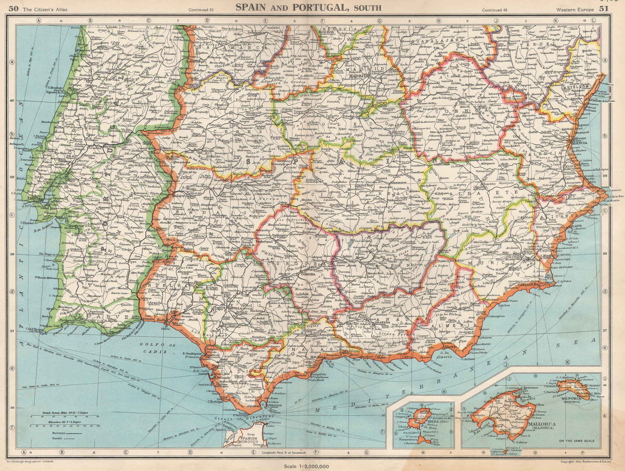 Associate Product IBERIA SOUTH. Spain & Portugal. Andalusia Murcia Valencia Extremadura 1952 map