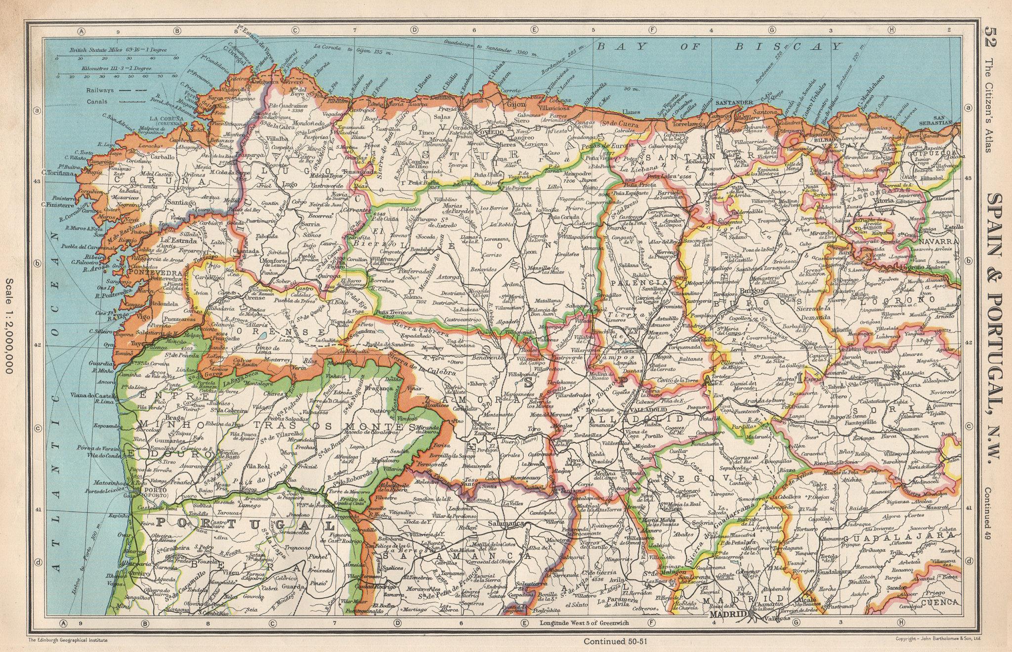 Associate Product IBERIA N WEST. Spain Portugal. Galicia Asturias Castilla/Leon Cantabria 1952 map