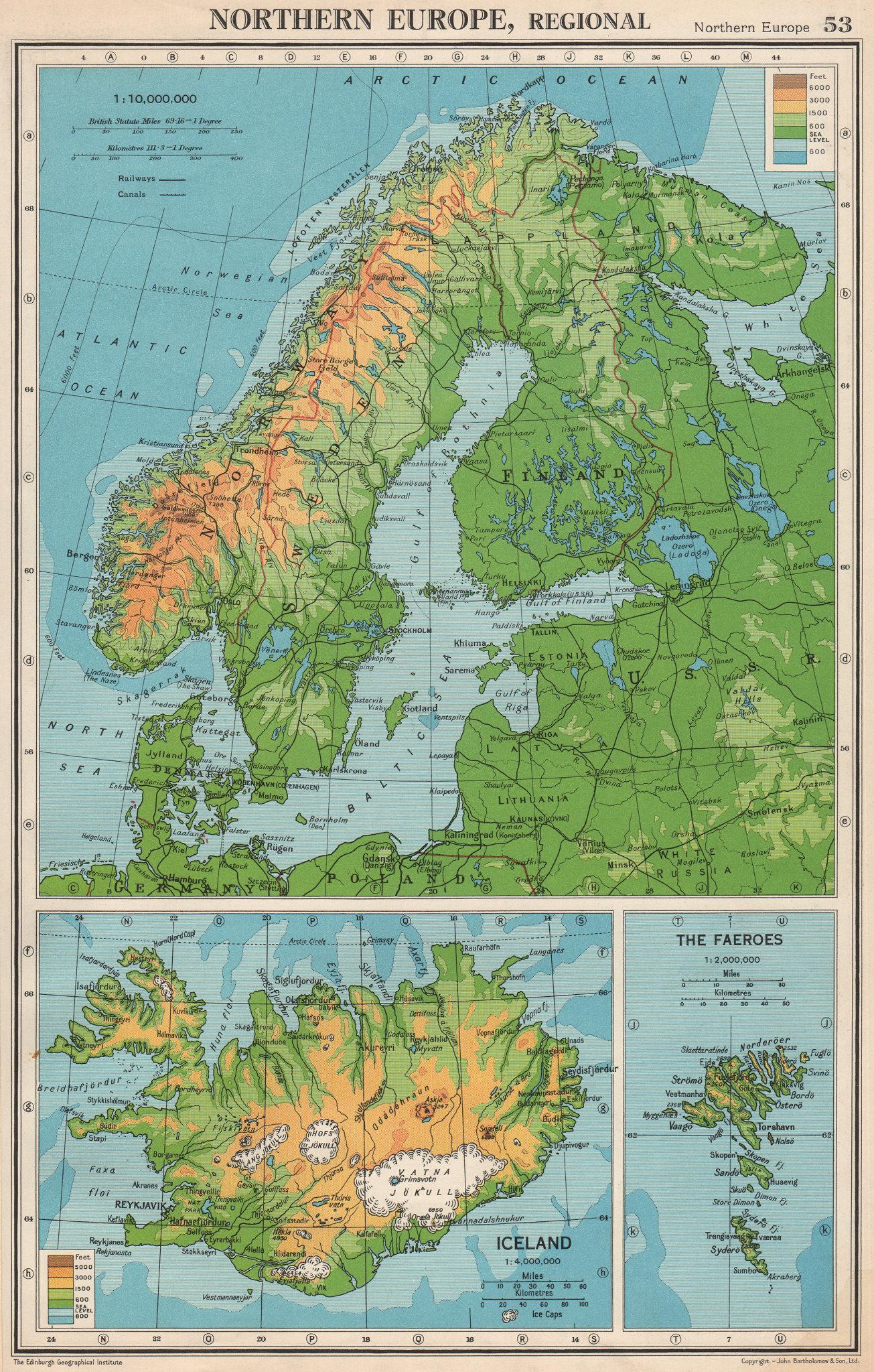 Associate Product SCANDINAVIA PHYSICAL.Iceland Norway Sweden Denmark Finland.BARTHOLOMEW 1952 map