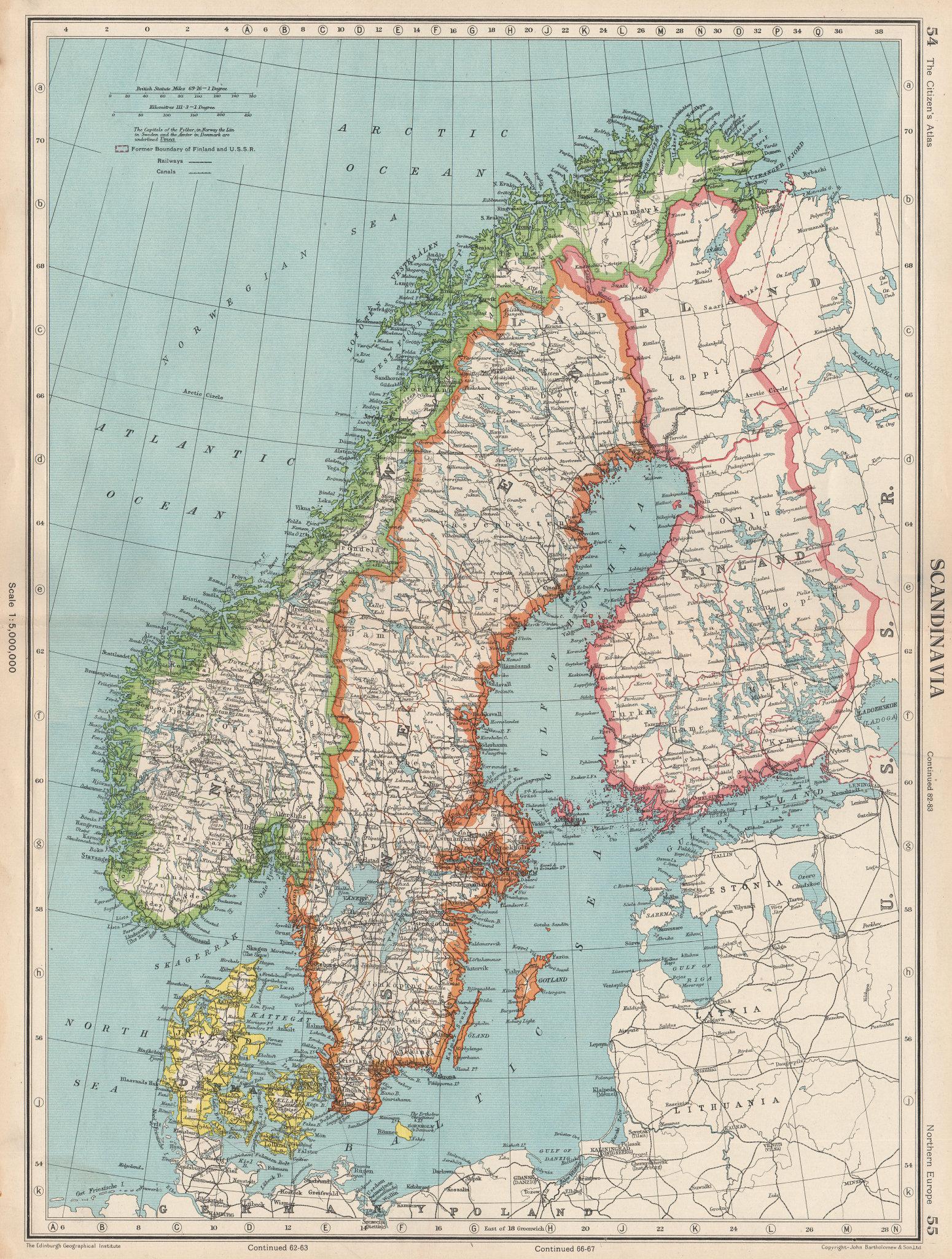 Associate Product SCANDINAVIA. Sweden Norway Denmark Finland (shows < 1940 borders)  1952 map