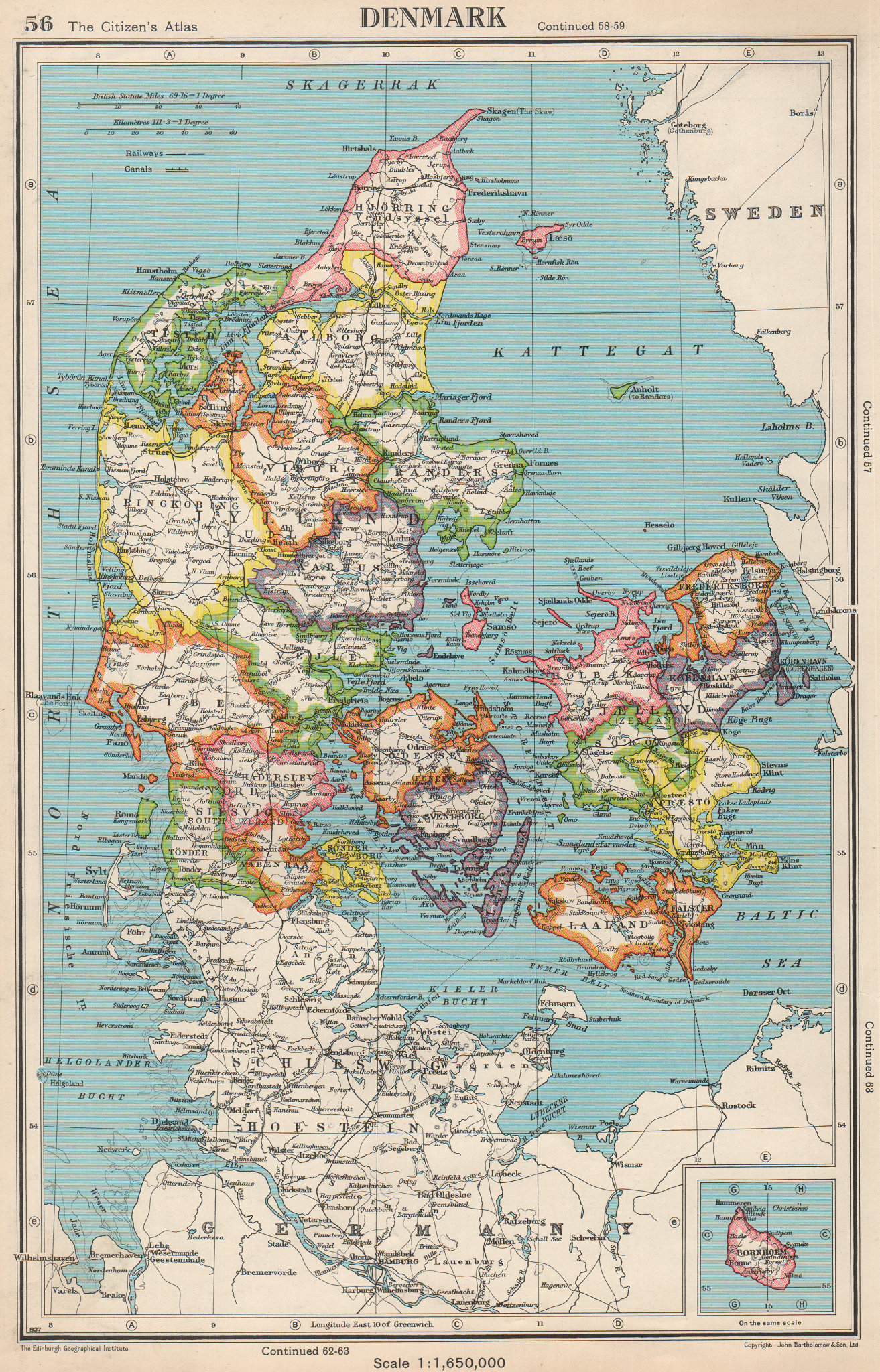 Associate Product DENMARK. showing counties/amter. BARTHOLOMEW 1952 old vintage map plan chart
