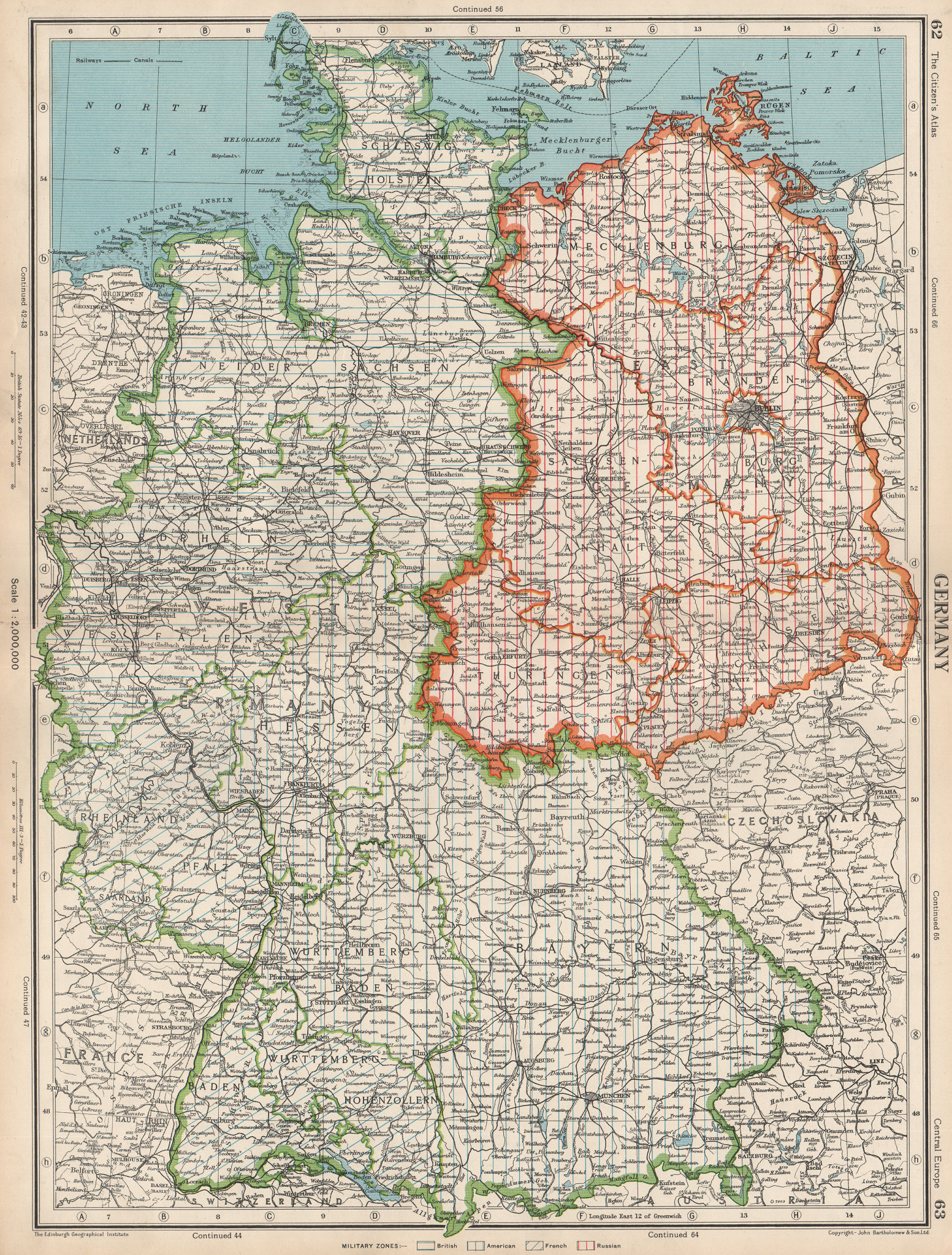 Associate Product GERMANY. showing post WW2 military zones. British US French Russian 1952 map