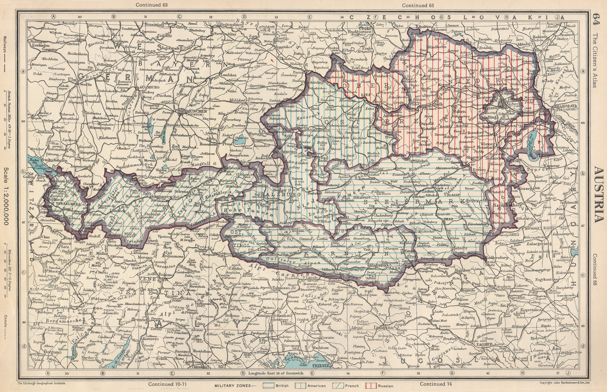Associate Product AUSTRIA. showing post WW2 military zones. British US French Russian 1952 map