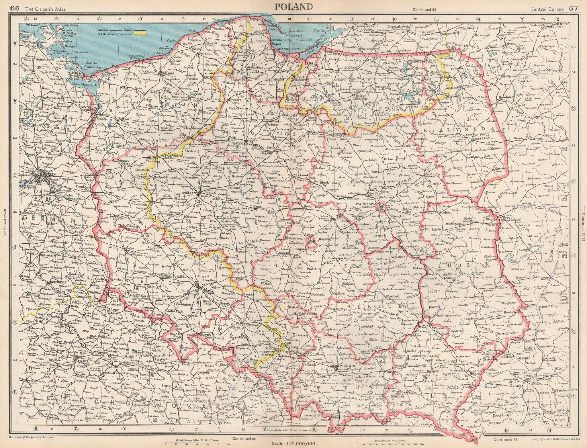 Associate Product POLAND. showing voivodeships/provinces/wojewodztwa & 1938 German border 1952 map