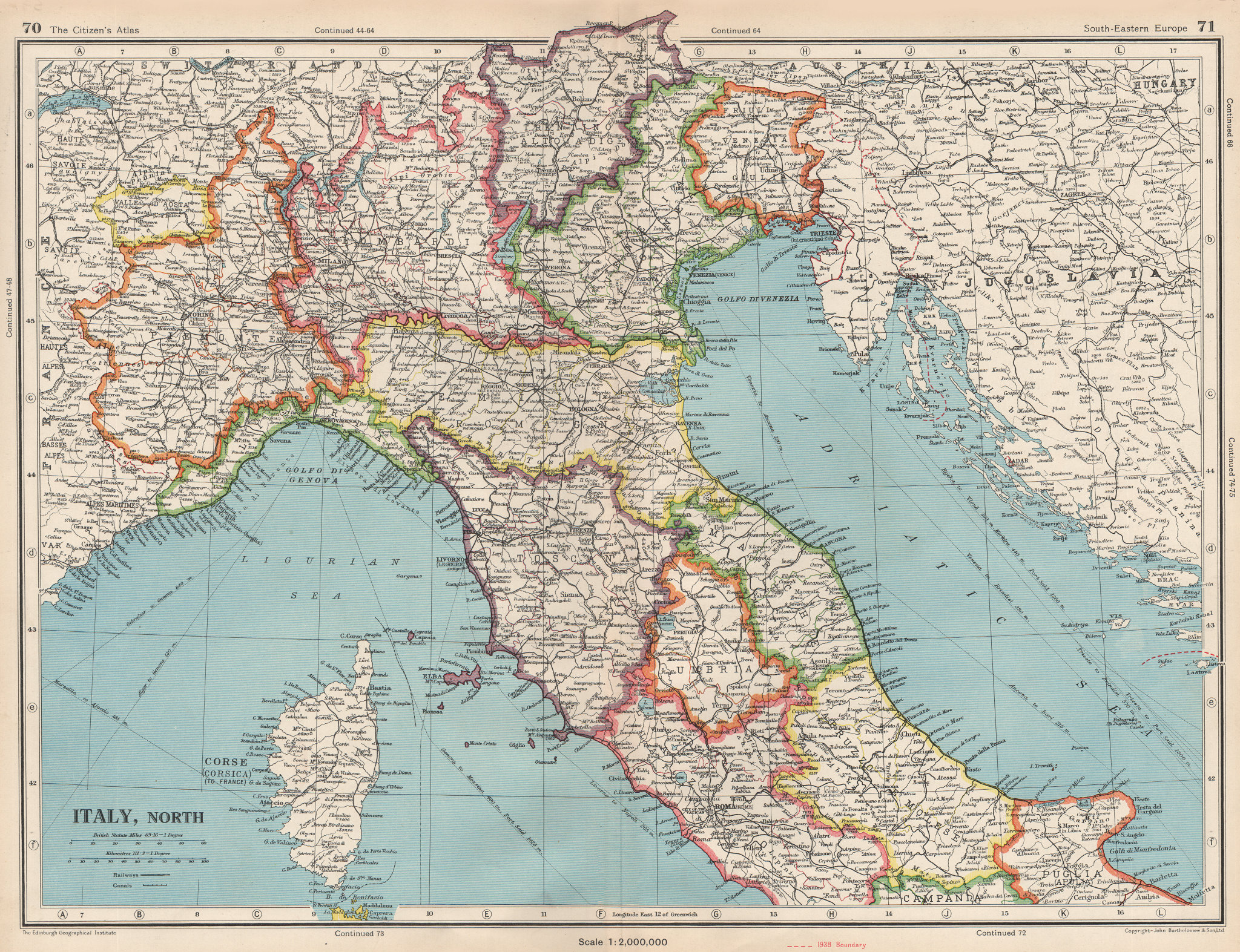 Associate Product ITALY NORTH. Shows independent Free Territory of Trieste (pre Osimo) 1952 map