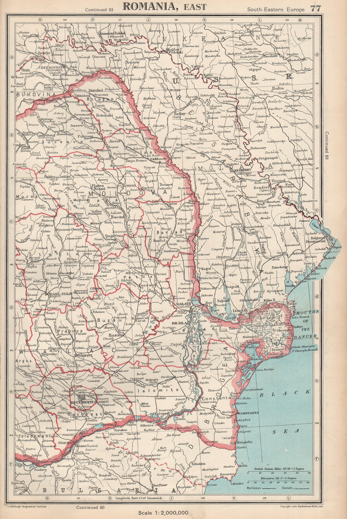 Associate Product ROMANIA EAST. showing judeţ/judets/counties. BARTHOLOMEW 1952 old vintage map
