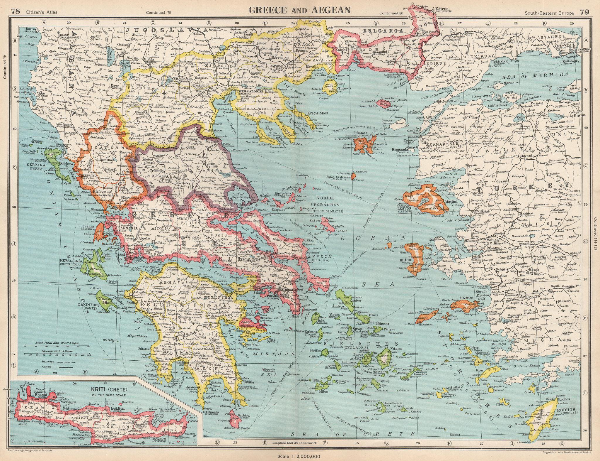 GREECE AND AEGEAN. Crete Cyclades Sporades Dodecanese &c. BARTHOLOMEW 1952 map
