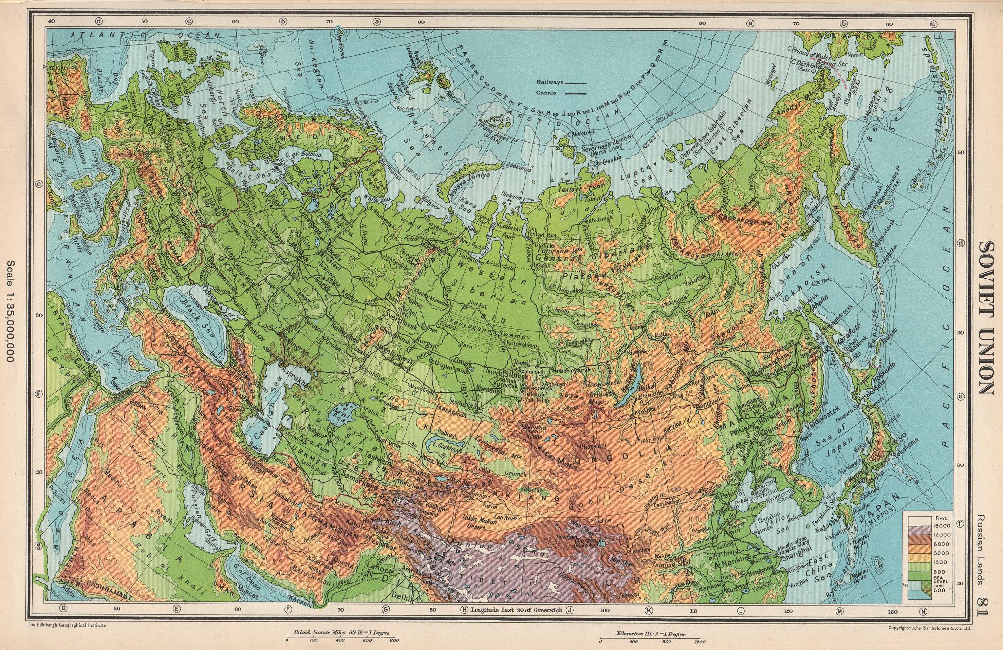 Associate Product SOVIET UNION PHYSICAL. USSR. Railways. BARTHOLOMEW 1952 old vintage map chart