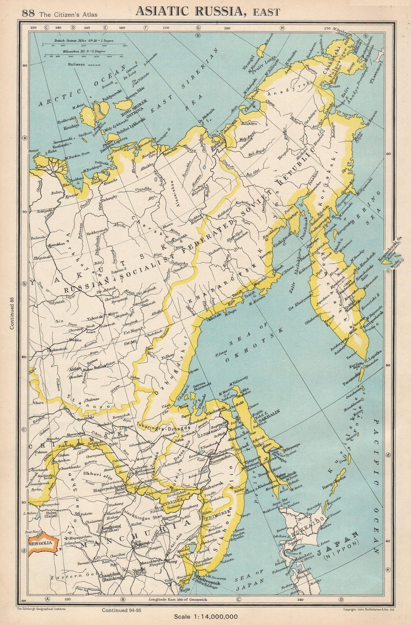 Associate Product ASIATIC RUSSIA, EAST. Siberia Yakutsk Sakhalin. BARTHOLOMEW 1952 old map