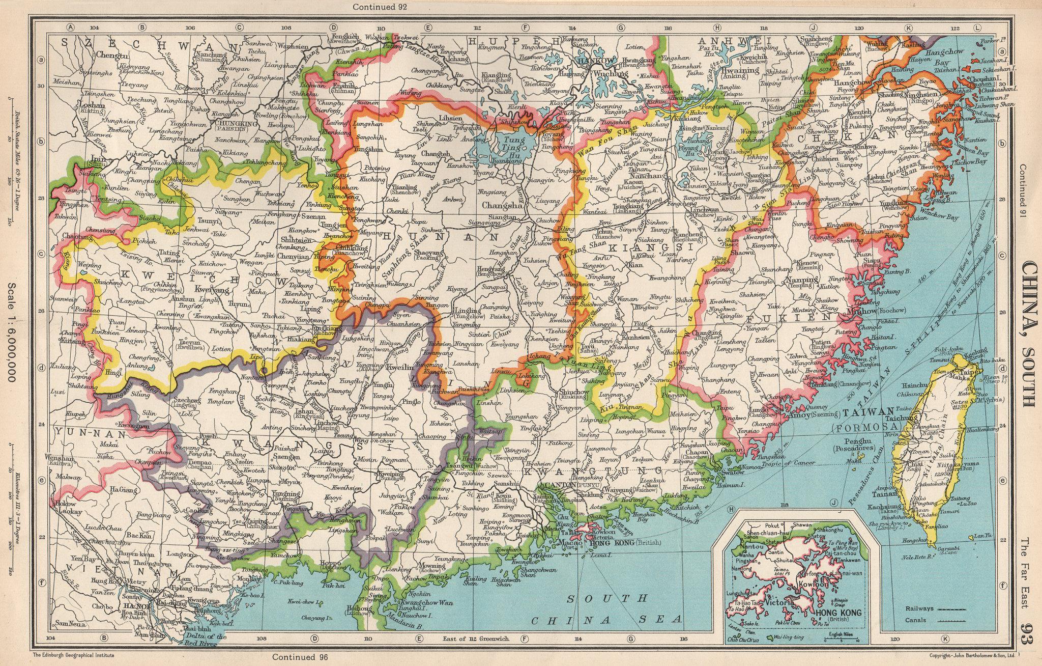 Associate Product SOUTHERN CHINA. Fukien Kiangsi Hunan Kwangtung Taiwan Hong Kong 1952 old map
