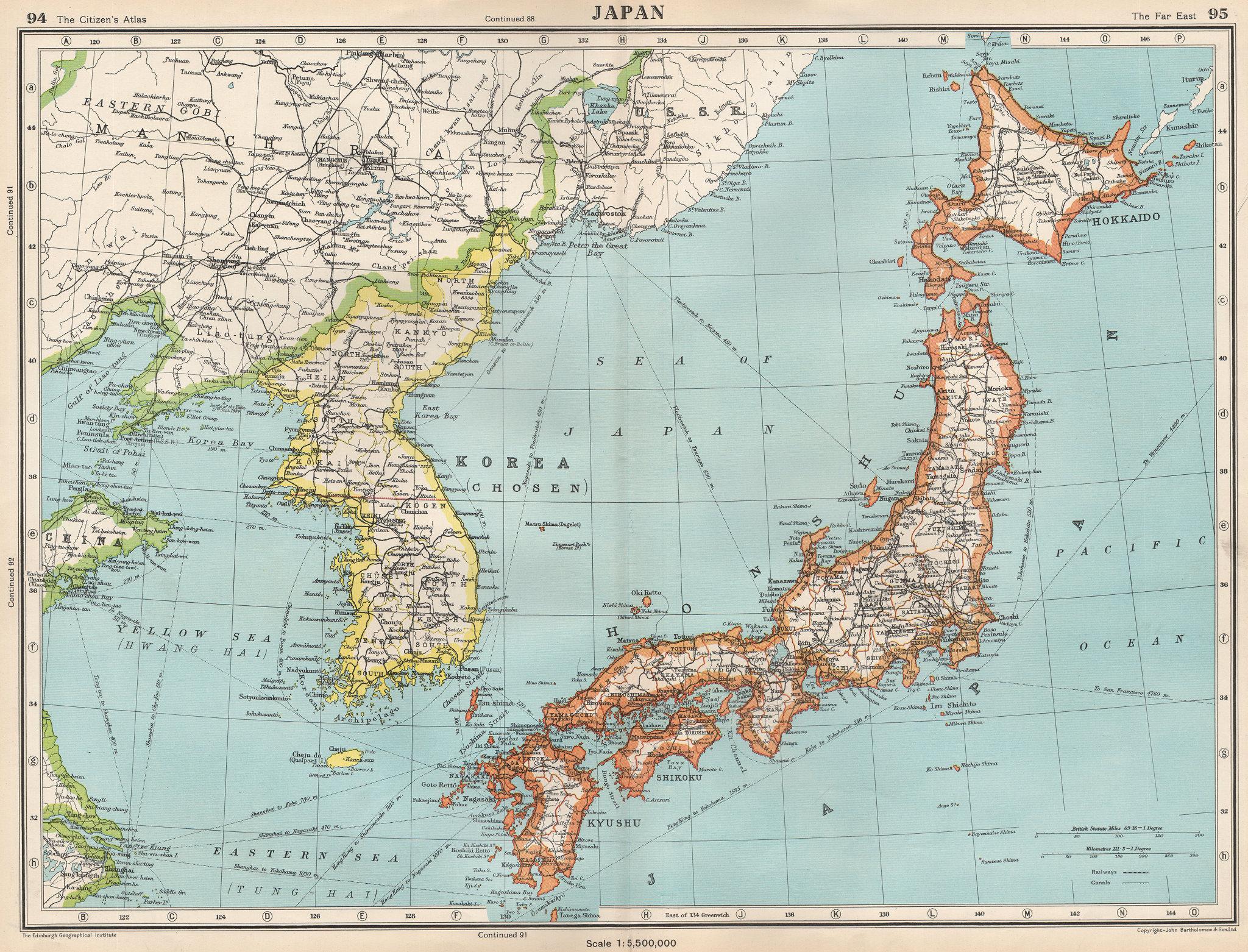 Associate Product JAPAN & KOREA. Shows Korea pre-war division along 38th parallel 1952 old map