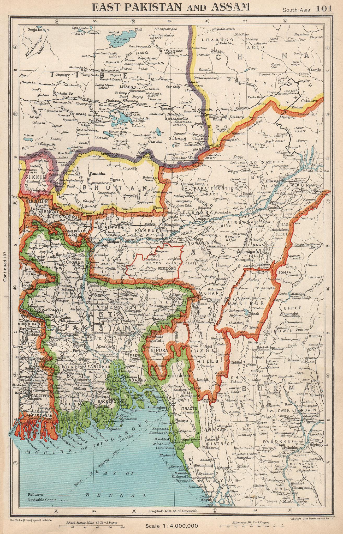 SOUTH ASIA. East Pakistan, Assam, Bhutan & independent Sikkim & Tibet 1952 map