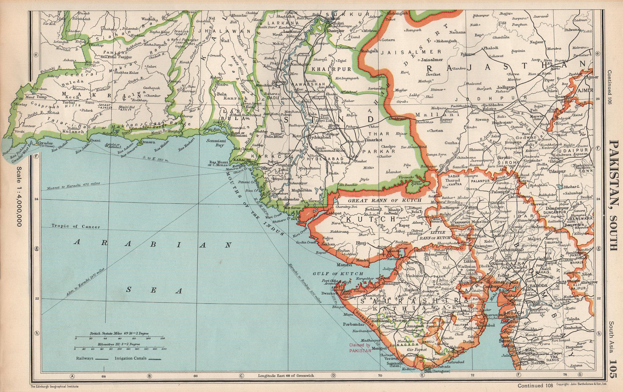 Associate Product SOUTH ASIA. Shows Pakistan claim on Junagadh & Portuguese Diu. Gujarat 1952 map