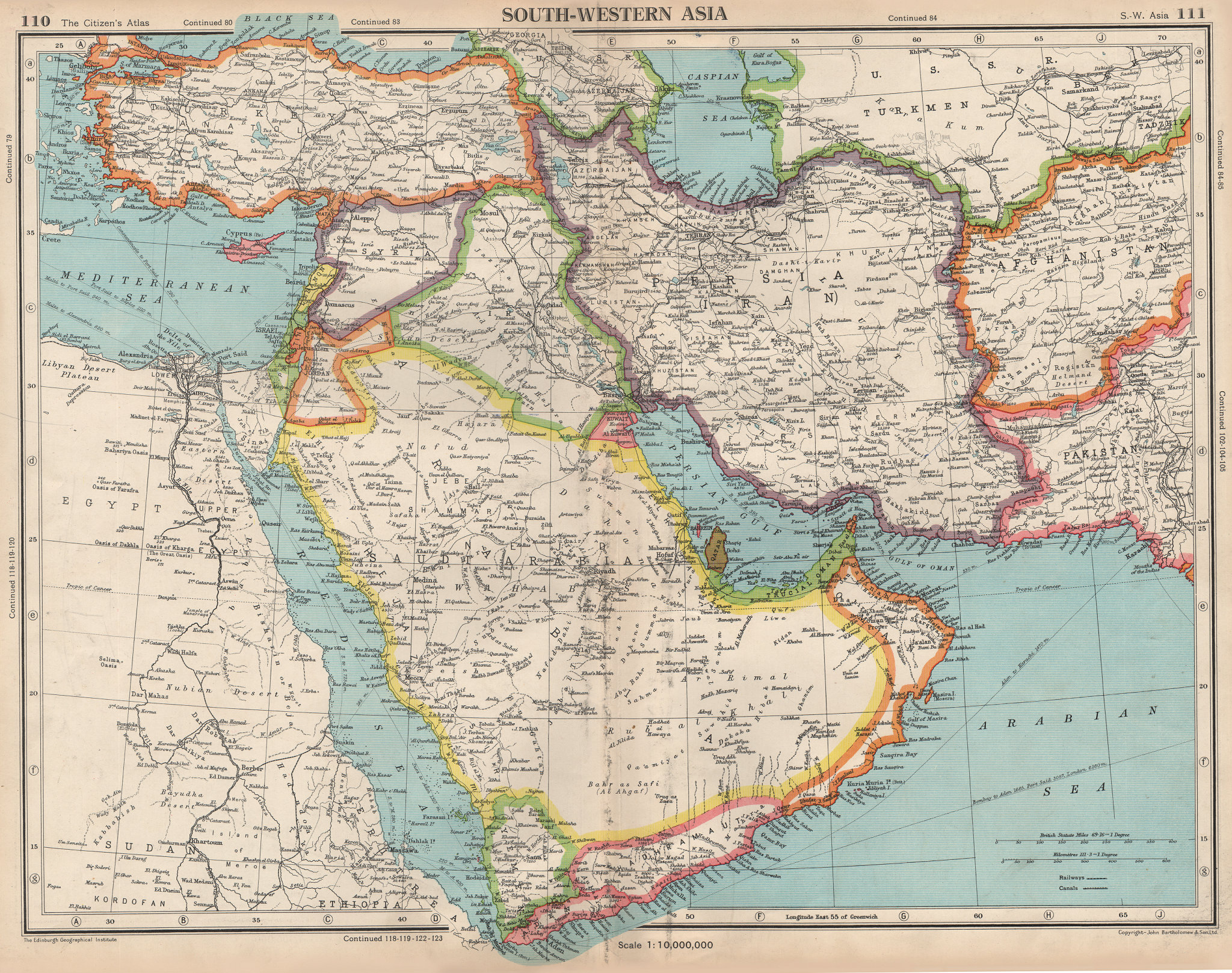 Associate Product MIDDLE EAST. South-Western Asia. Hadhramaut. Shows Trucial Oman (UAE)  1952 map