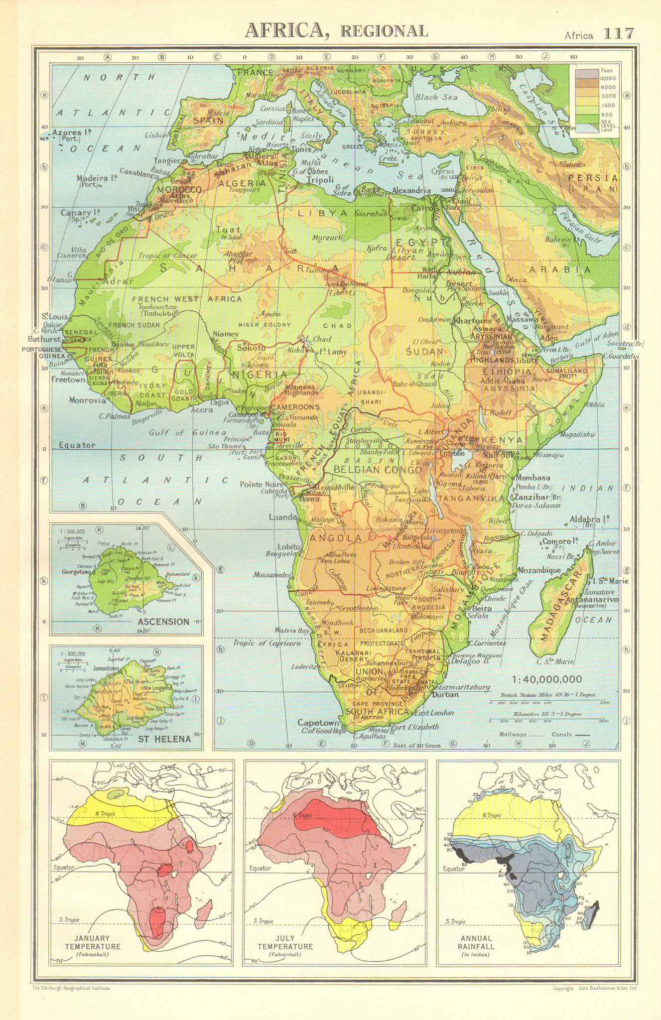 Associate Product AFRICA PHYSICAL & CLIMATE.January July temperature.Rainfall.BARTHOLOMEW 1952 map