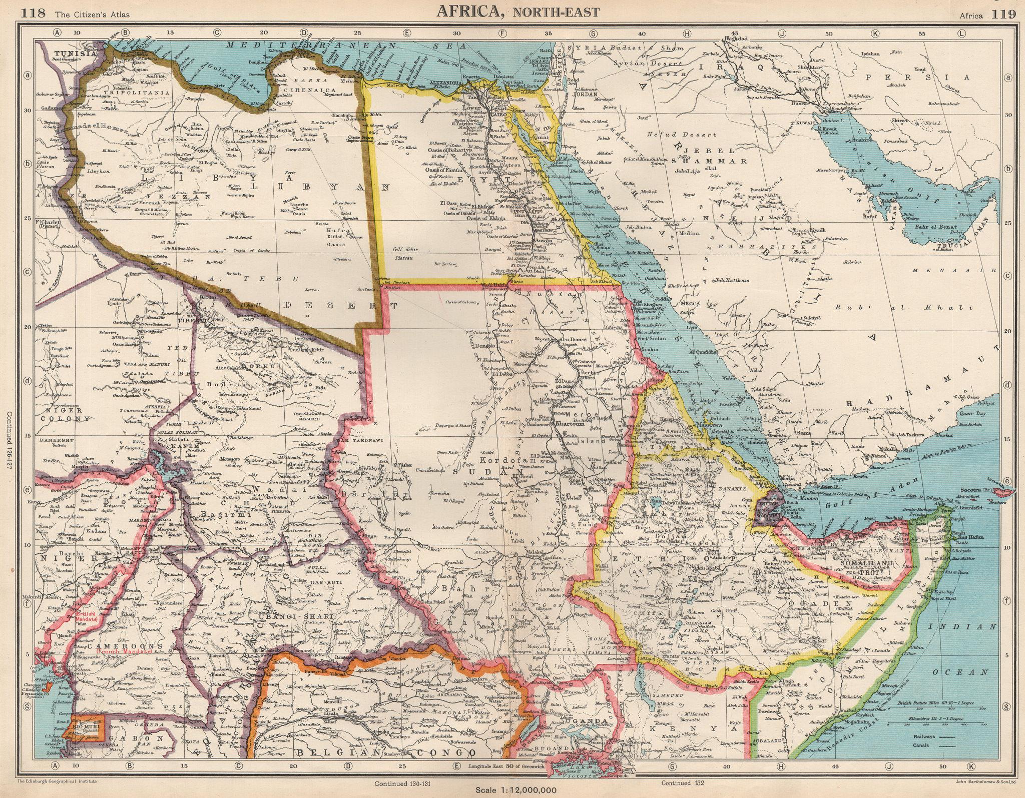 Associate Product NORTH EAST AFRICA. Libya Egypt Sudan Ethiopia Ubangi-Shari Chad 1952 old map