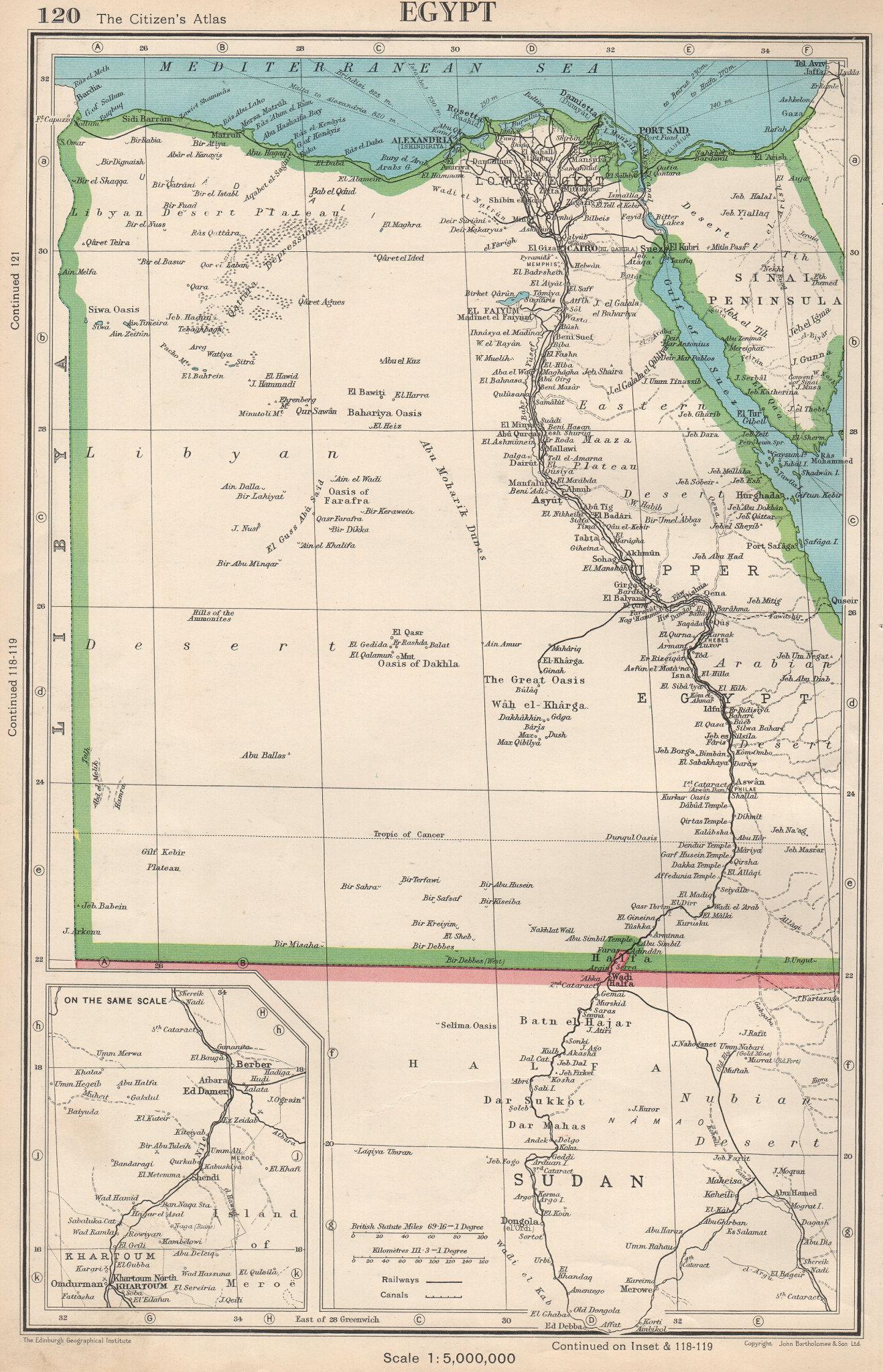 Associate Product EGYPT. & Nile Valley. BARTHOLOMEW 1952 old vintage map plan chart
