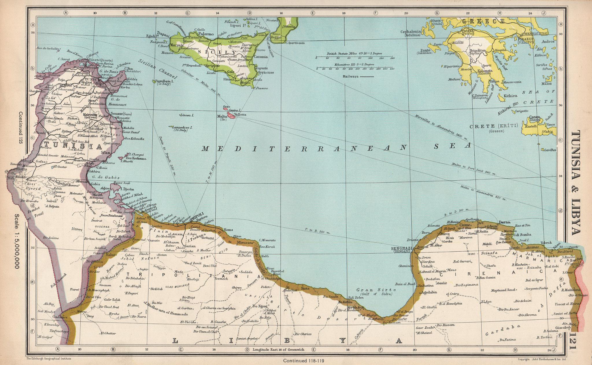 MEDITERRANEAN.Tunisia & Libyan coast.Sicily.Gulf of Sirte.BARTHOLOMEW 1952 map
