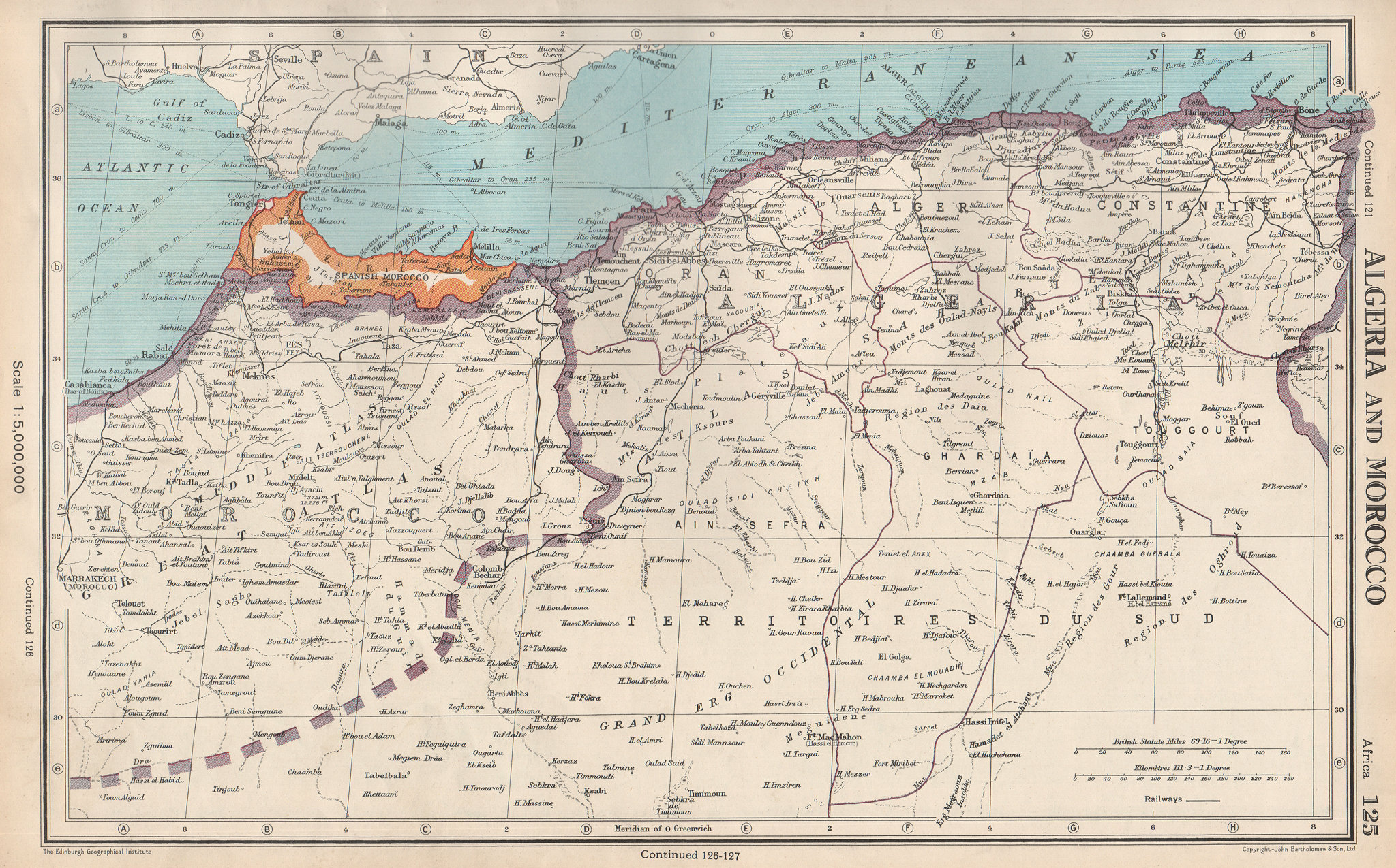 Associate Product ALGERIA AND MOROCCO. showing Spanish Morocco. BARTHOLOMEW 1952 old vintage map