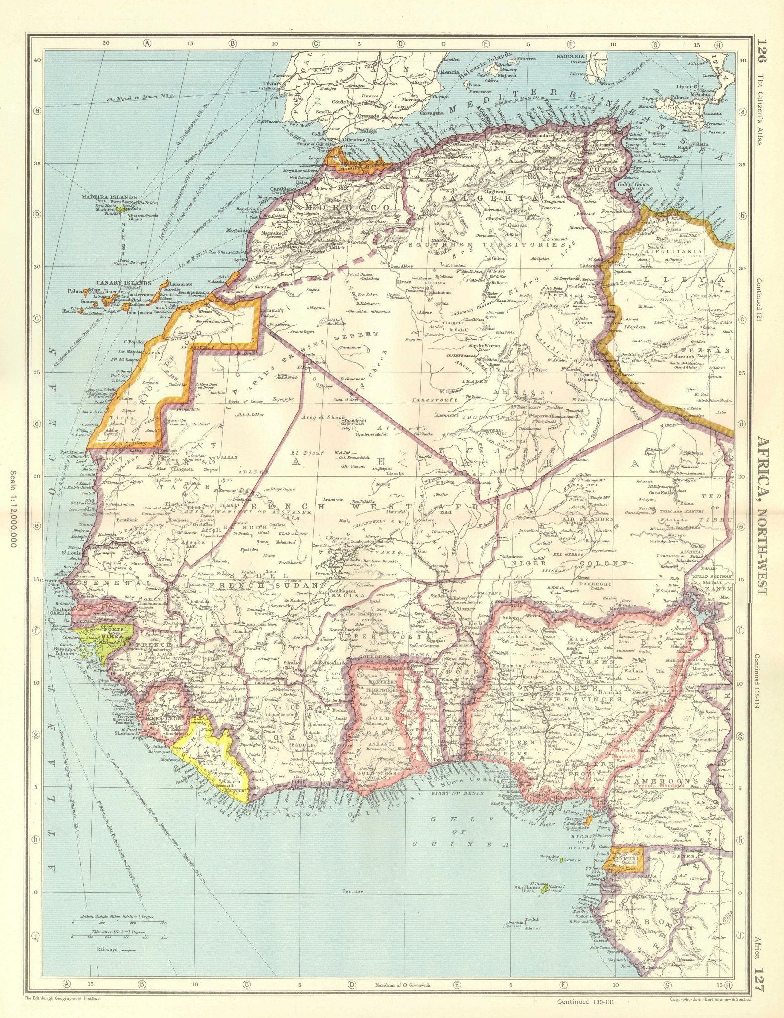 Associate Product AFRICA. French West Africa. Rio de Oro Rio Muni Nigeria. BARTHOLOMEW 1952 map