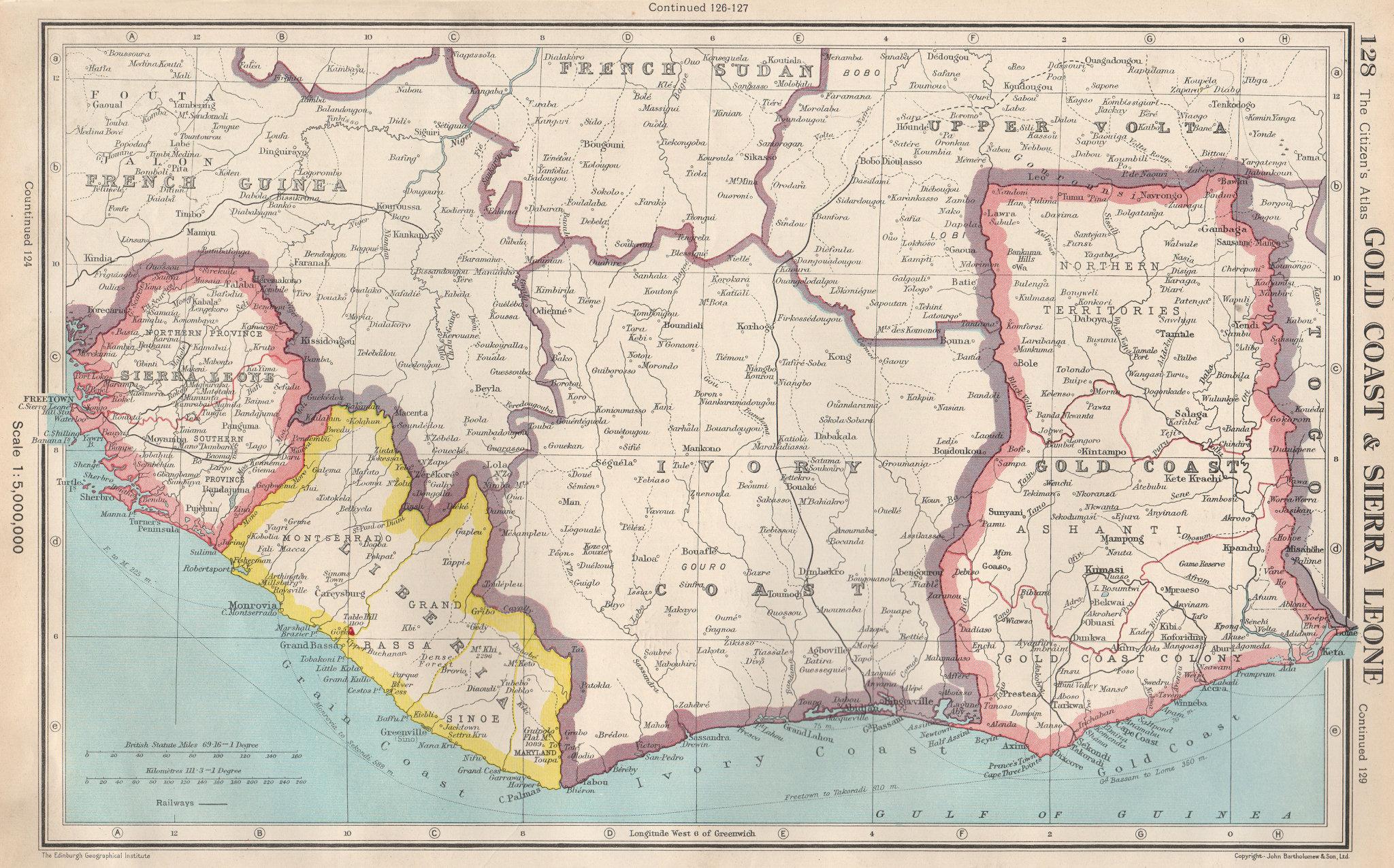 Associate Product WEST AFRICA. Gold Coast (Ghana) Sierra Leone Liberia Ivory Coast 1952 map