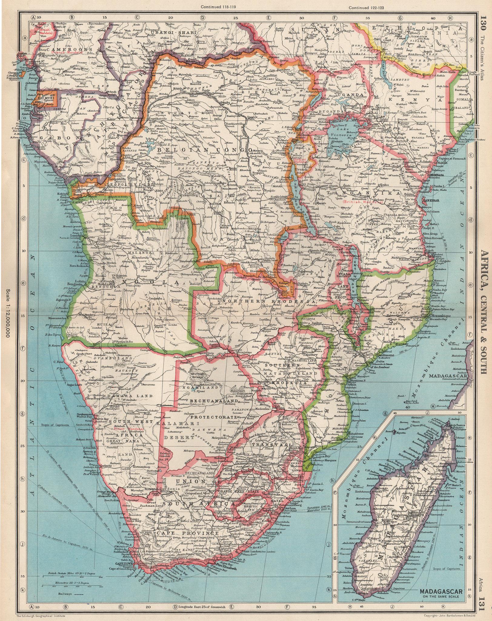 Associate Product SOUTHERN AFRICA. Belgian Congo Rhodesia Bechuanaland Tangyanika 1952 old map