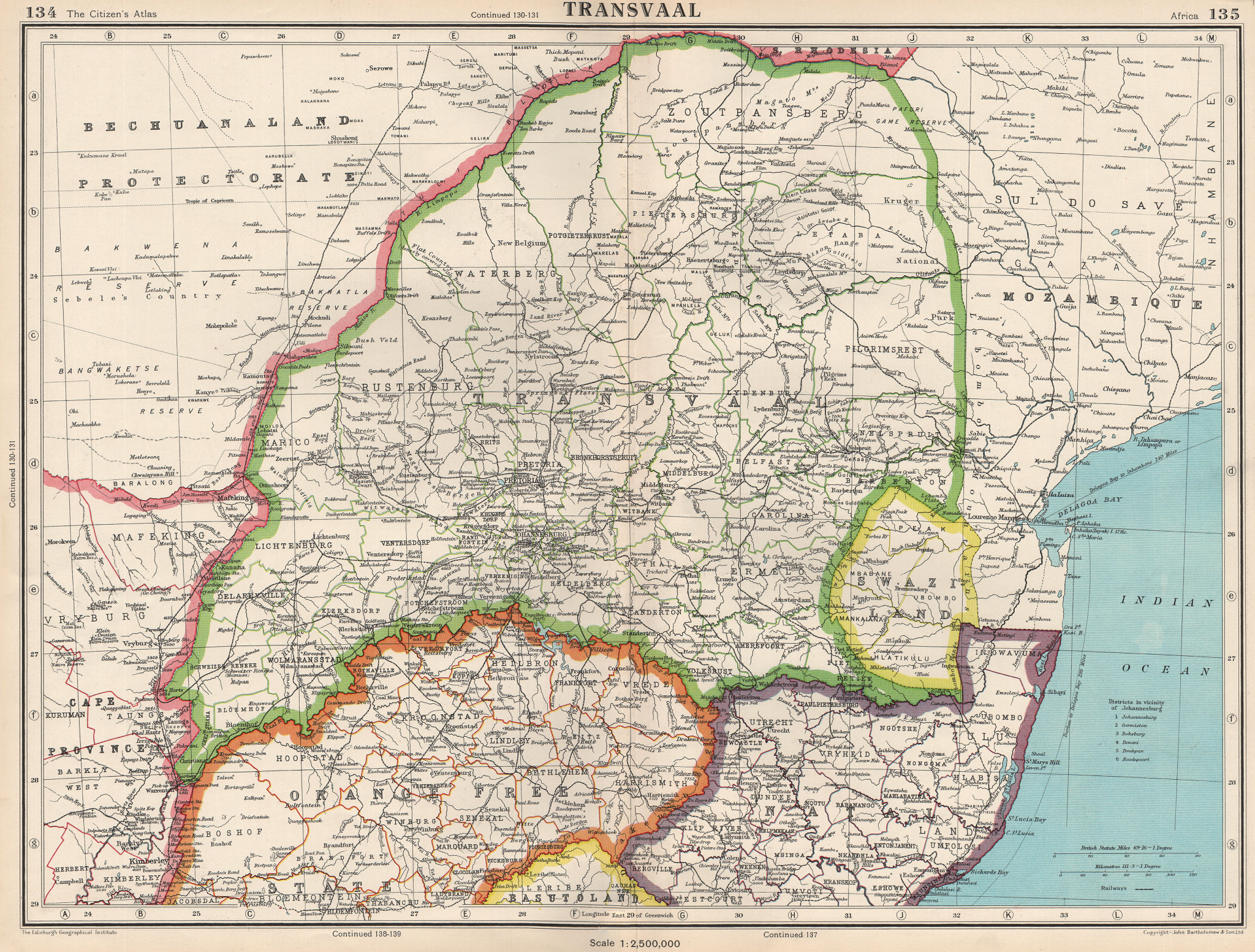 Associate Product TRANSVAAL. South Africa. Railways. + Swaziland. BARTHOLOMEW 1952 old map
