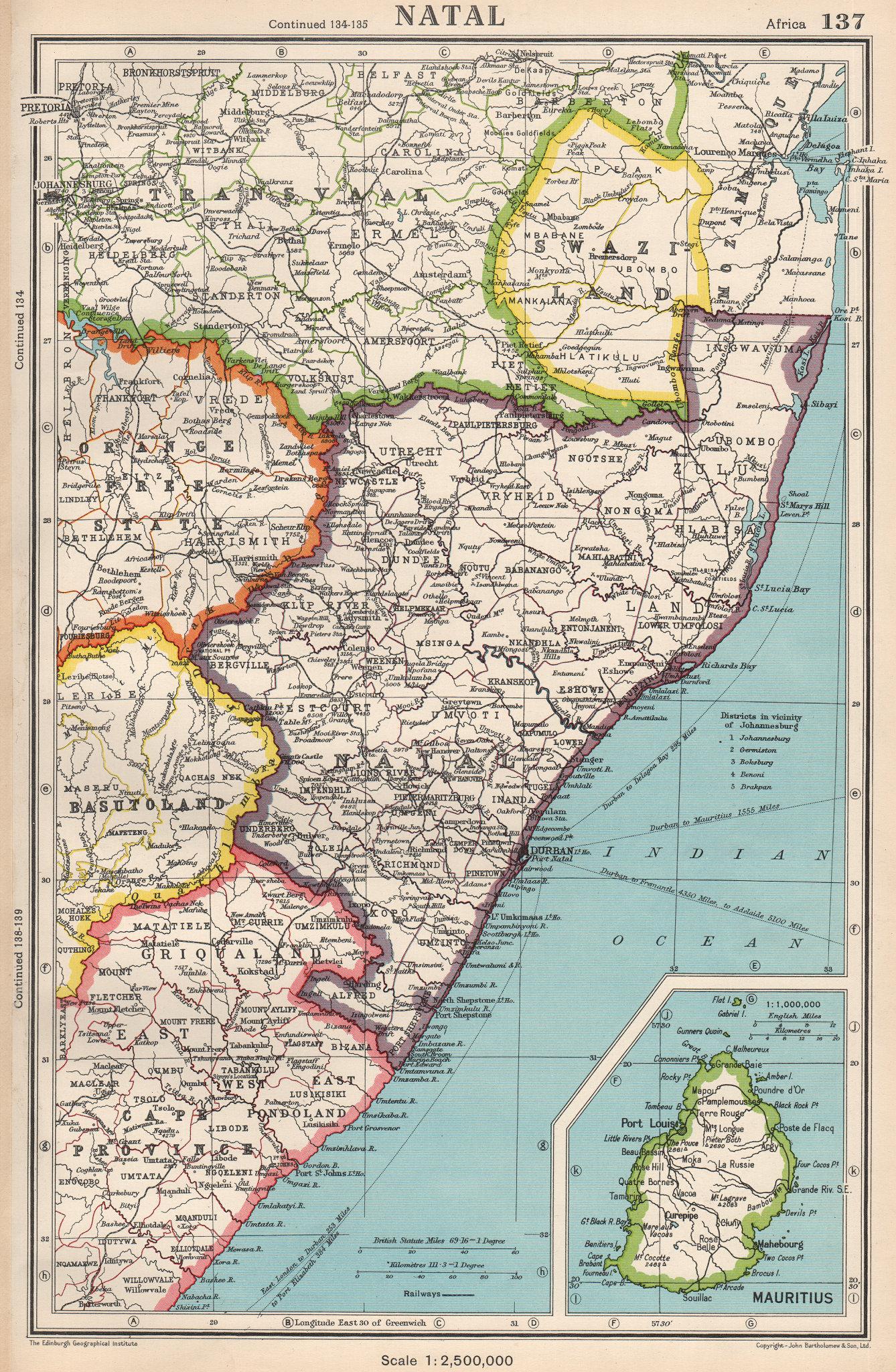 Associate Product NATAL & SWAZILAND. inset Mauritius. South Africa. BARTHOLOMEW 1952 old map