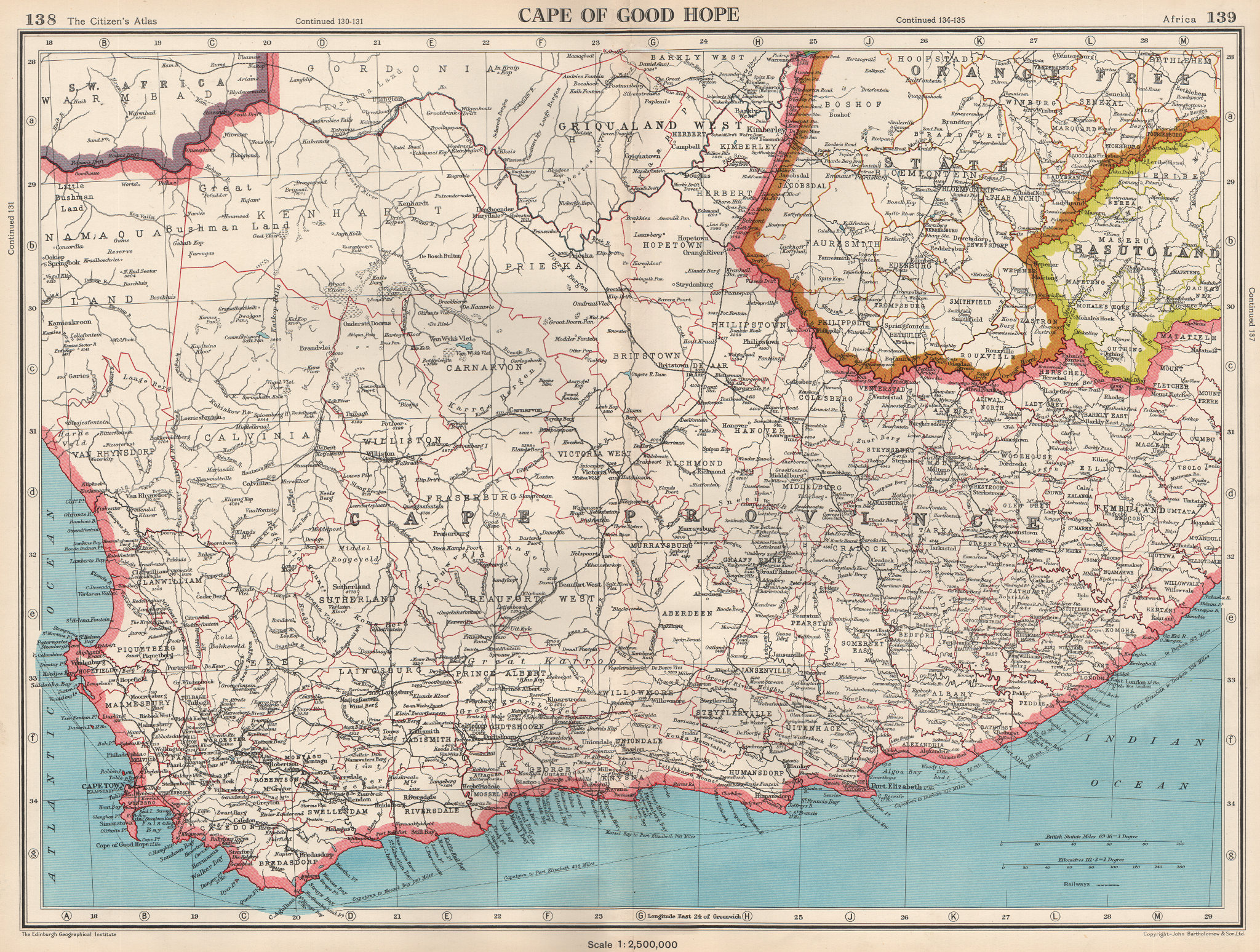 Associate Product CAPE OF GOOD HOPE. Cape Province. South Africa. BARTHOLOMEW 1952 old map