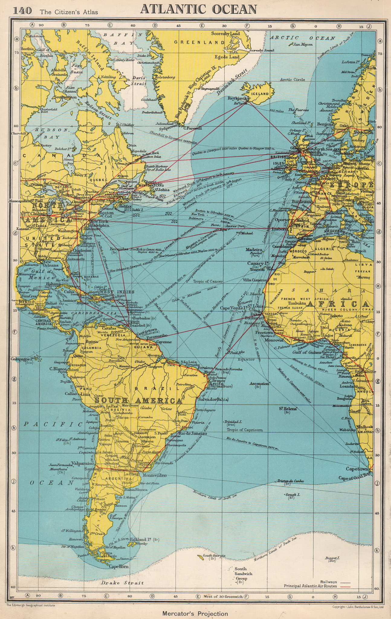 Associate Product ATLANTIC OCEAN. Shows main air & shipping routes, drift/pack ice limits 1952 map