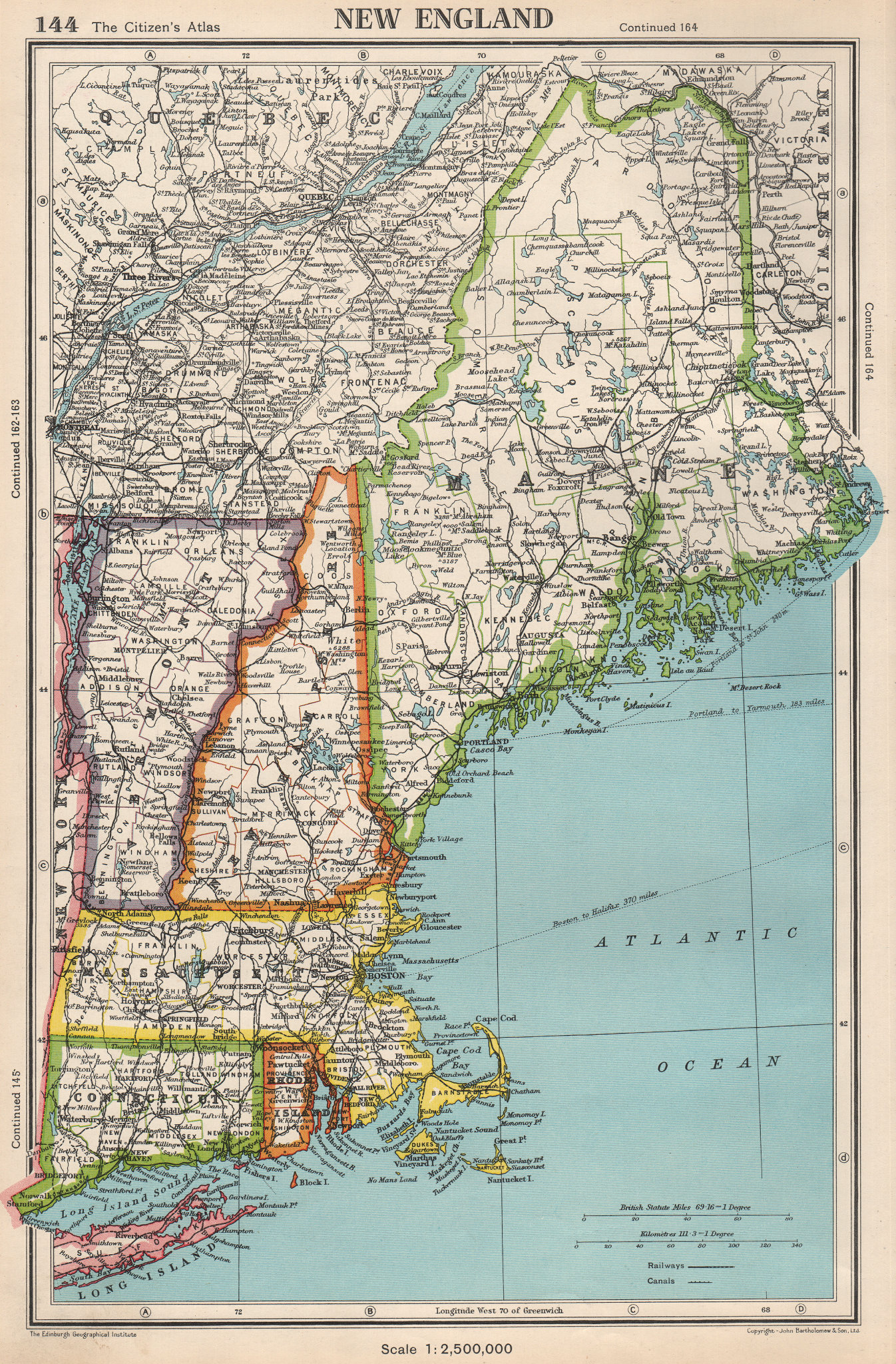 Associate Product NEW ENGLAND. Connecticut Massachusetts Vermont NH Maine RI. BARTHOLOMEW 1952 map