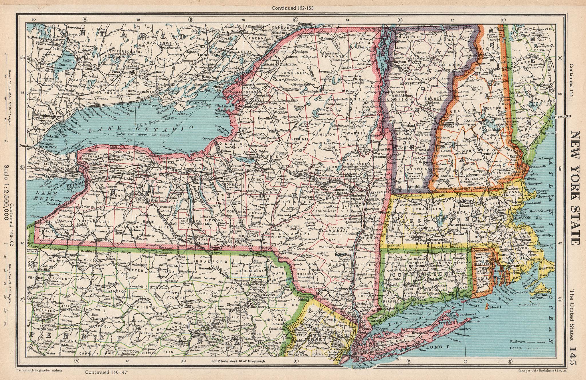 Associate Product NEW YORK STATE. + Connecticut Vermont Massachusetts RI. BARTHOLOMEW 1952 map