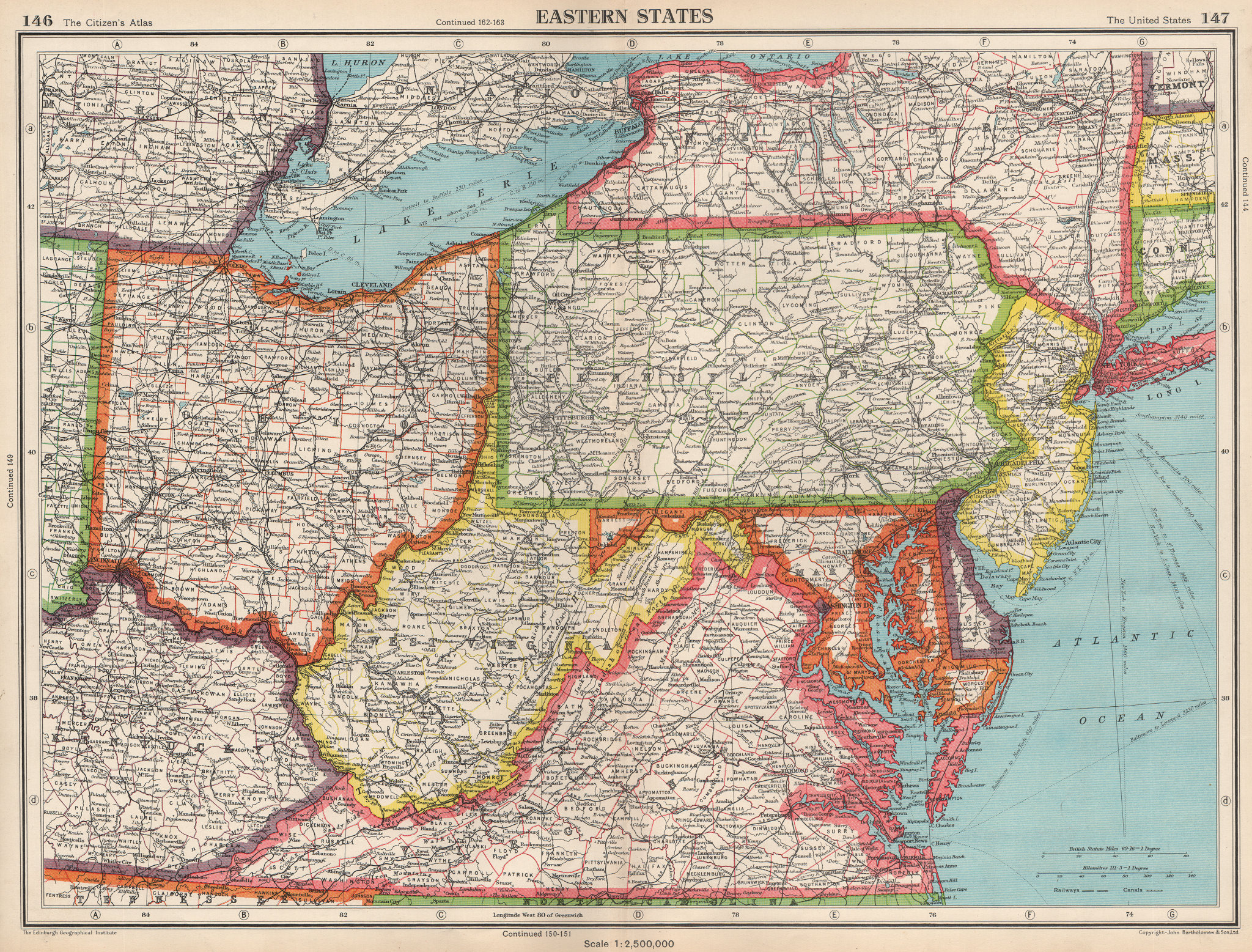 Associate Product USA EASTERN STATES.WV Virginia Pennsylvania MD Delaware New Jersey Ohio 1952 map