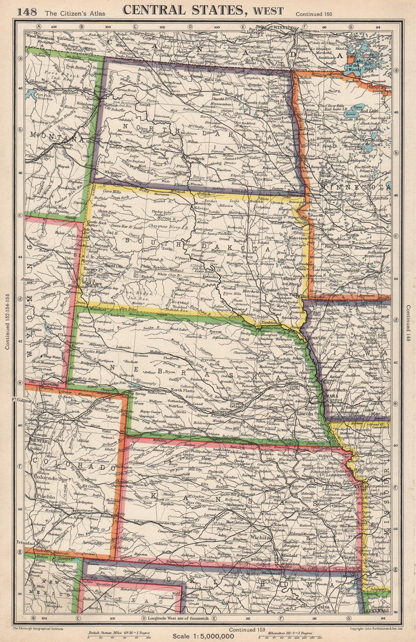 Associate Product USA PLAINS STATES. North & South Dakota Nebraska Kansas. BARTHOLOMEW 1952 map