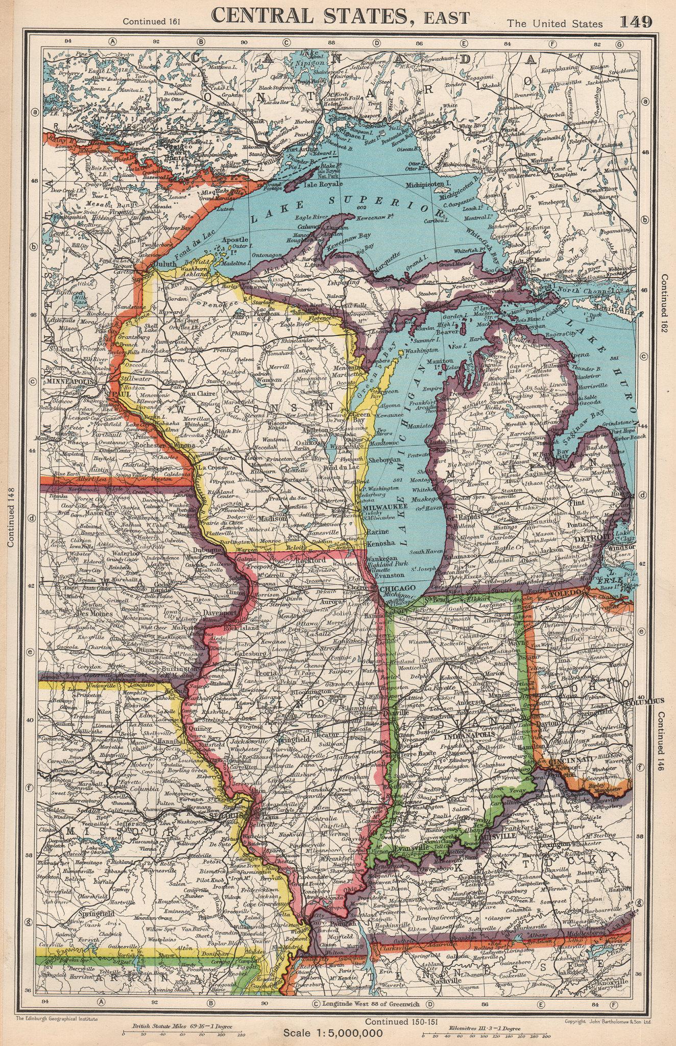Associate Product MIDWEST USA. WI Michigan Illinois Indiana. Great Lakes. BARTHOLOMEW 1952 map