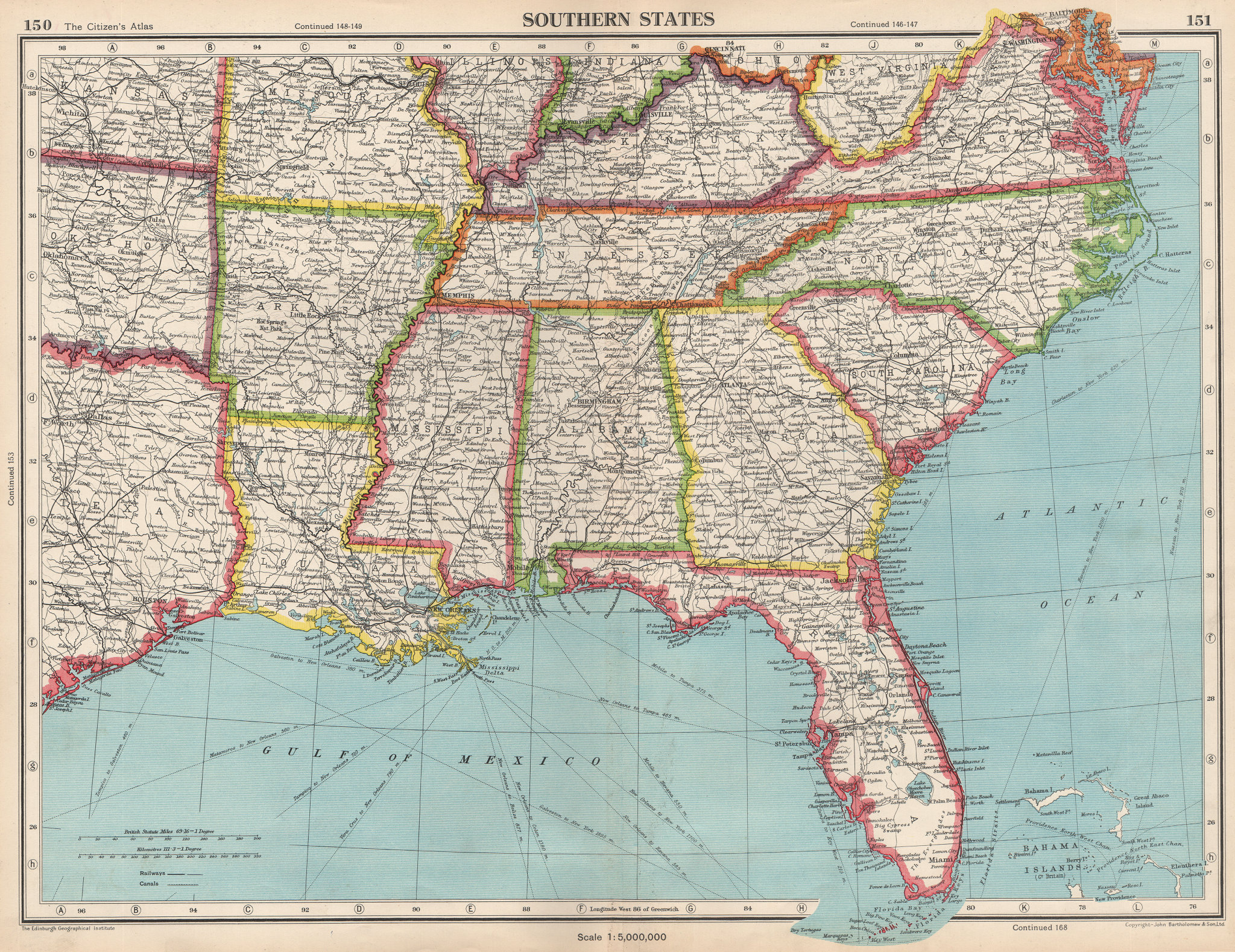 Associate Product USA SOUTHERN STATES.Florida Georgia LA MS AL NC SC TN AR KY.BARTHOLOMEW 1952 map