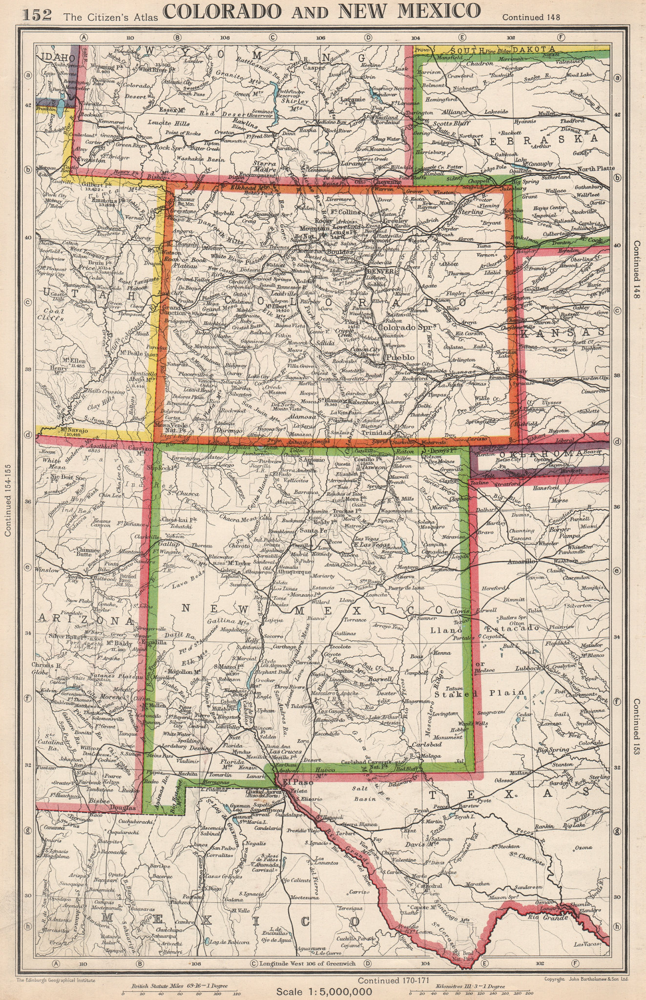 Associate Product COLORADO AND NEW MEXICO. USA state map. BARTHOLOMEW 1952 old vintage chart