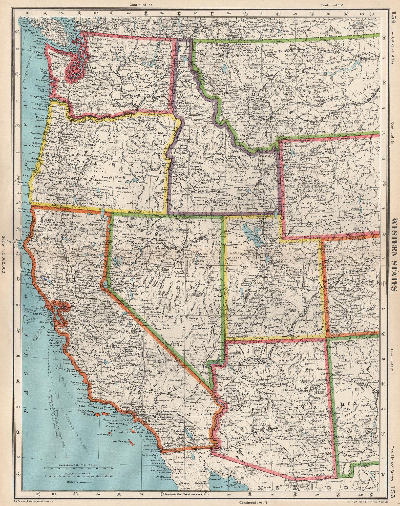 Associate Product USA WESTERN STATES. California Washington WA ID NV AZ UT. BARTHOLOMEW 1952 map