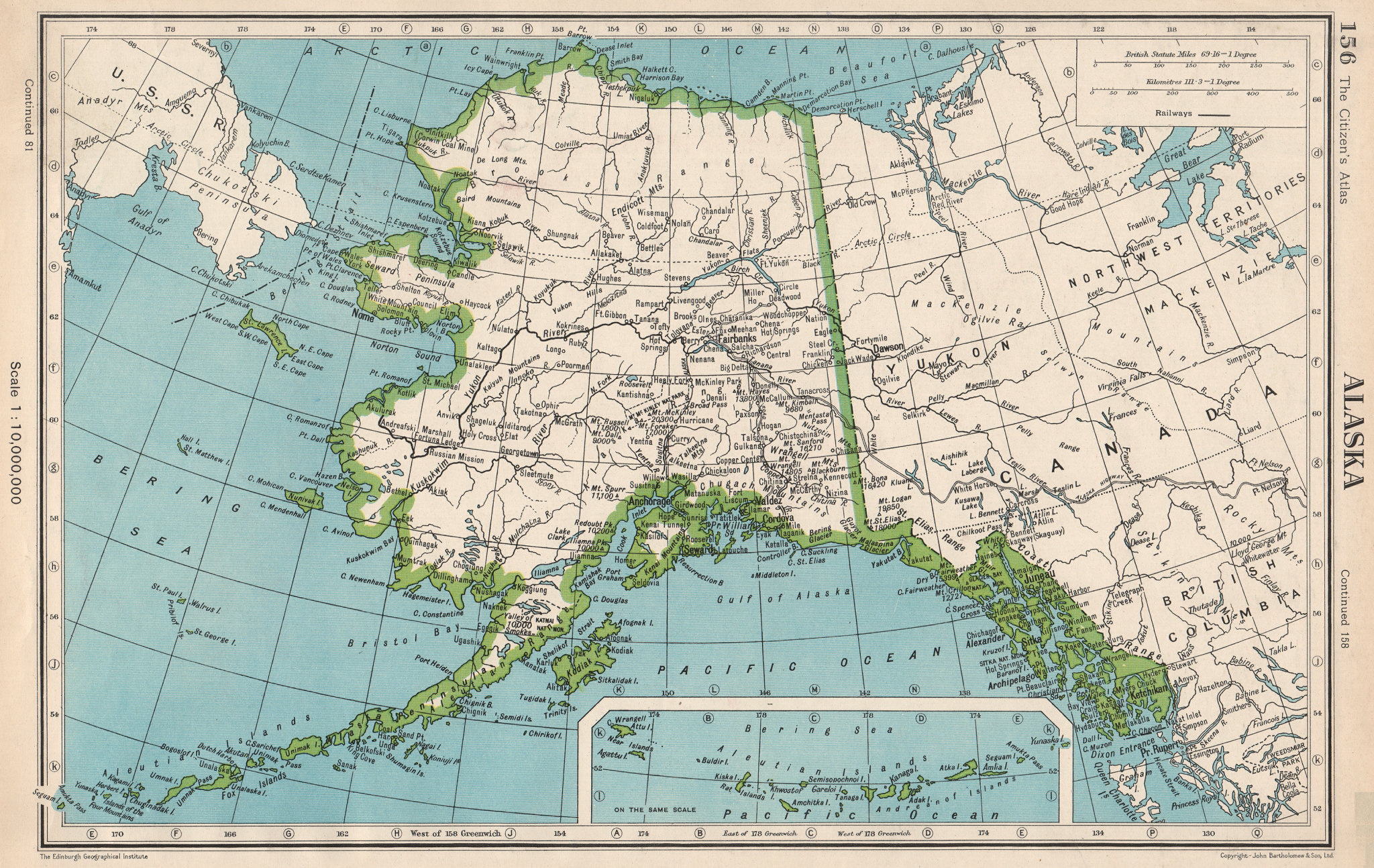 Associate Product ALASKA. railways. Mountains. BARTHOLOMEW 1952 old vintage map plan chart