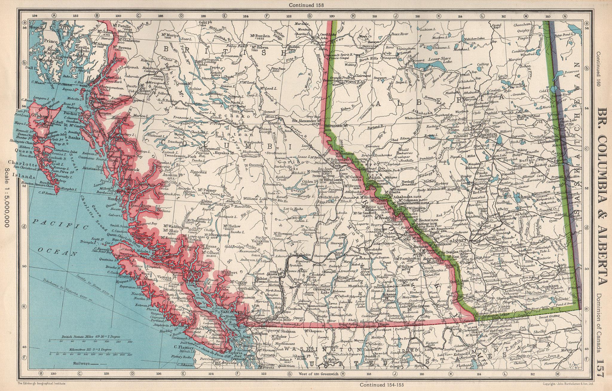Associate Product CANADA. British Columbia & Alberta. Railways. BARTHOLOMEW 1952 old vintage map