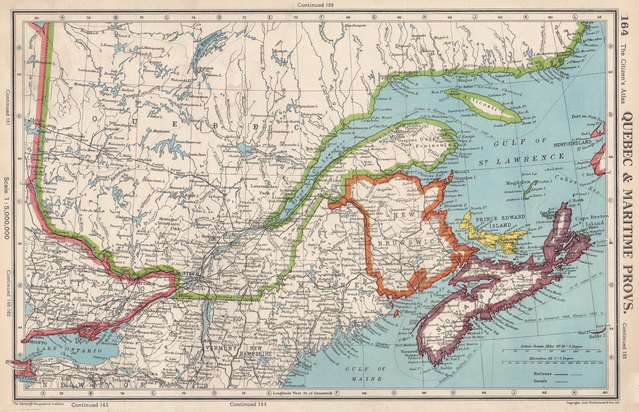 QUEBEC & MARITIME PROVINCES. NS Prince Edward Island NB. BARTHOLOMEW 1952 map