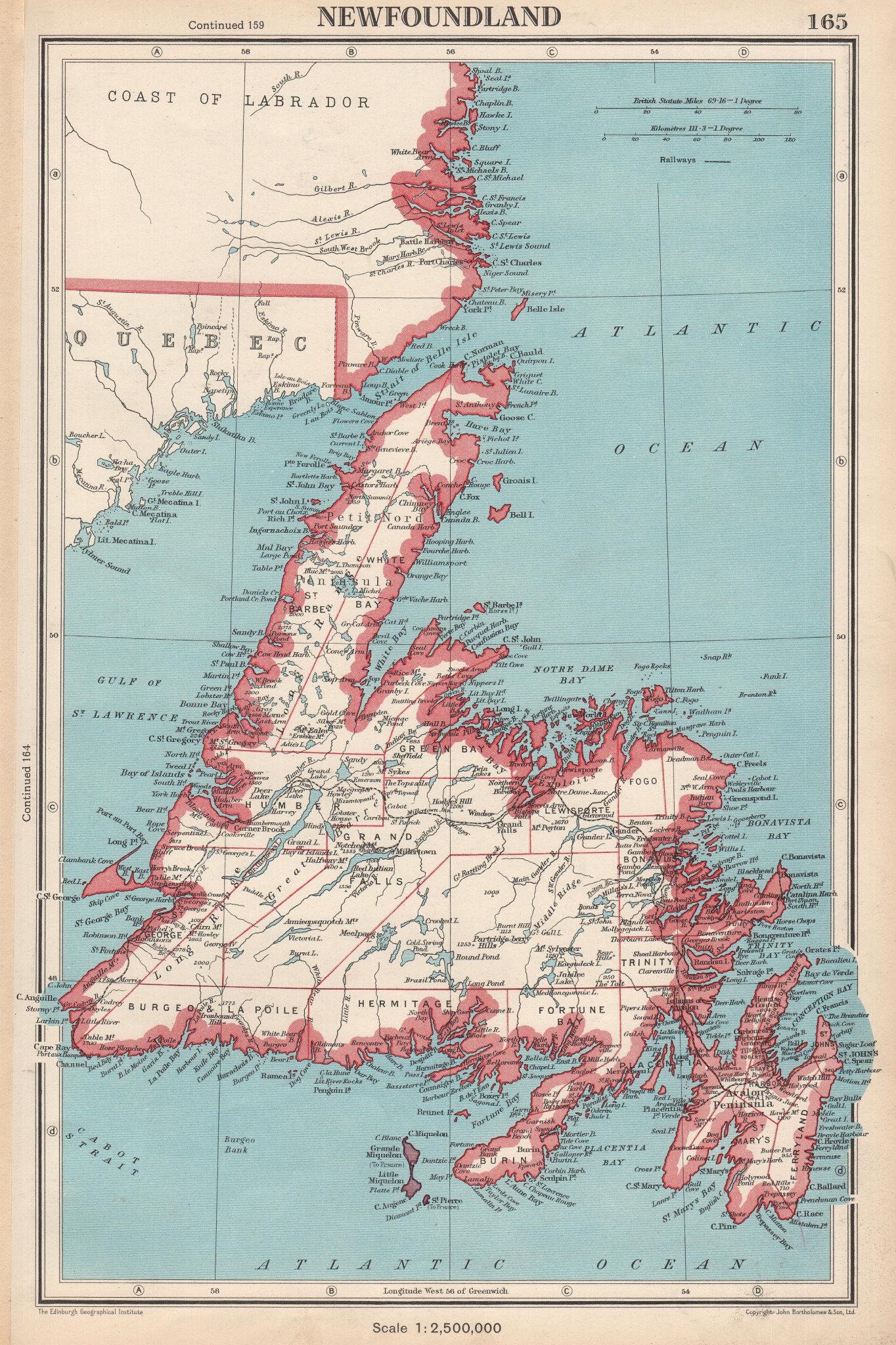 Associate Product NEWFOUNDLAND.showing divisions.St Pierre & Miquelon.Canada.BARTHOLOMEW 1952 map