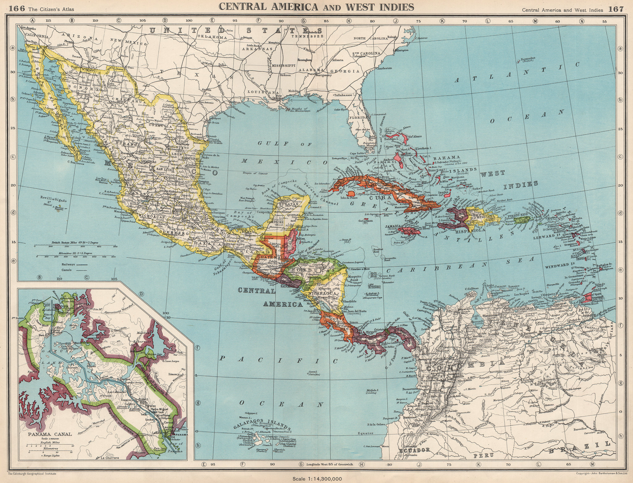Associate Product CARIBBEAN/CENTRAL AMERICA. Inset Panama Canal Zone. BARTHOLOMEW 1952 old map