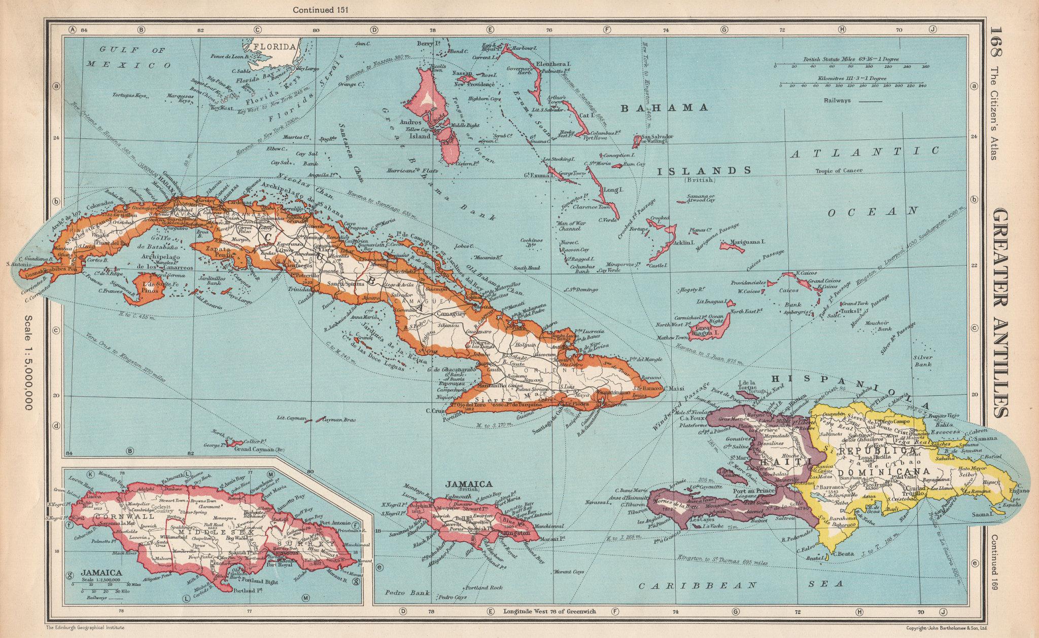 Associate Product GREATER ANTILLES.Cuba Hispaniola Jamaica Bahamas.Haiti Dominican Rep. 1952 map