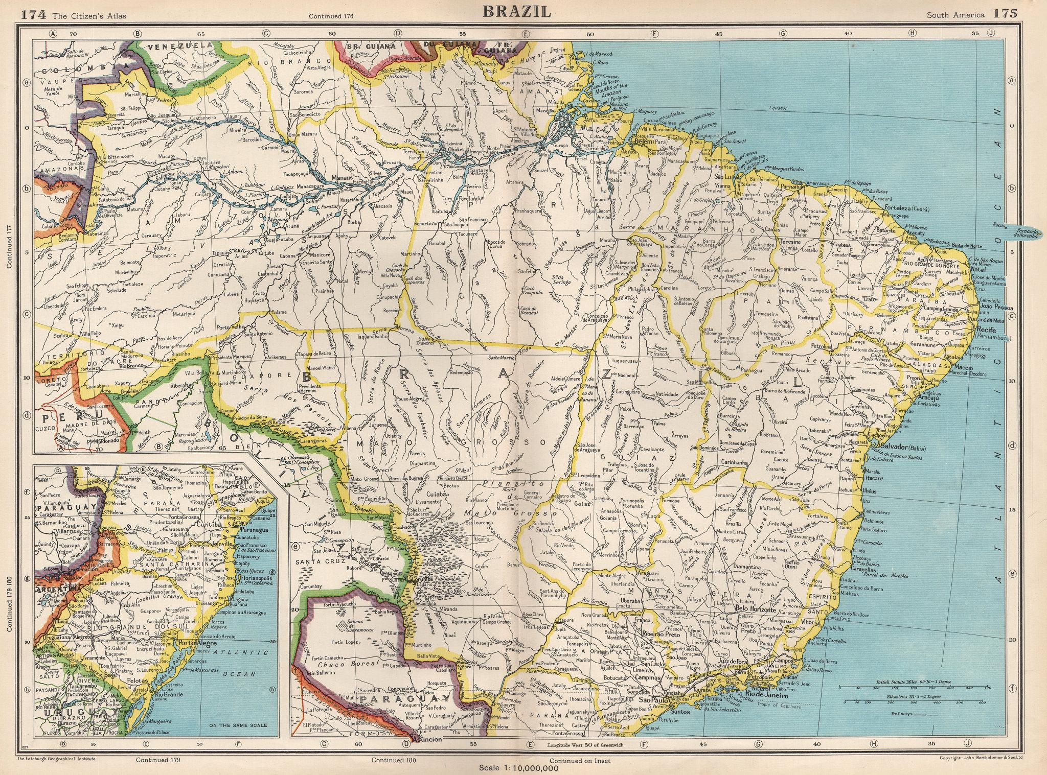 Associate Product BRAZIL. also Paraguay. BARTHOLOMEW 1952 old vintage map plan chart