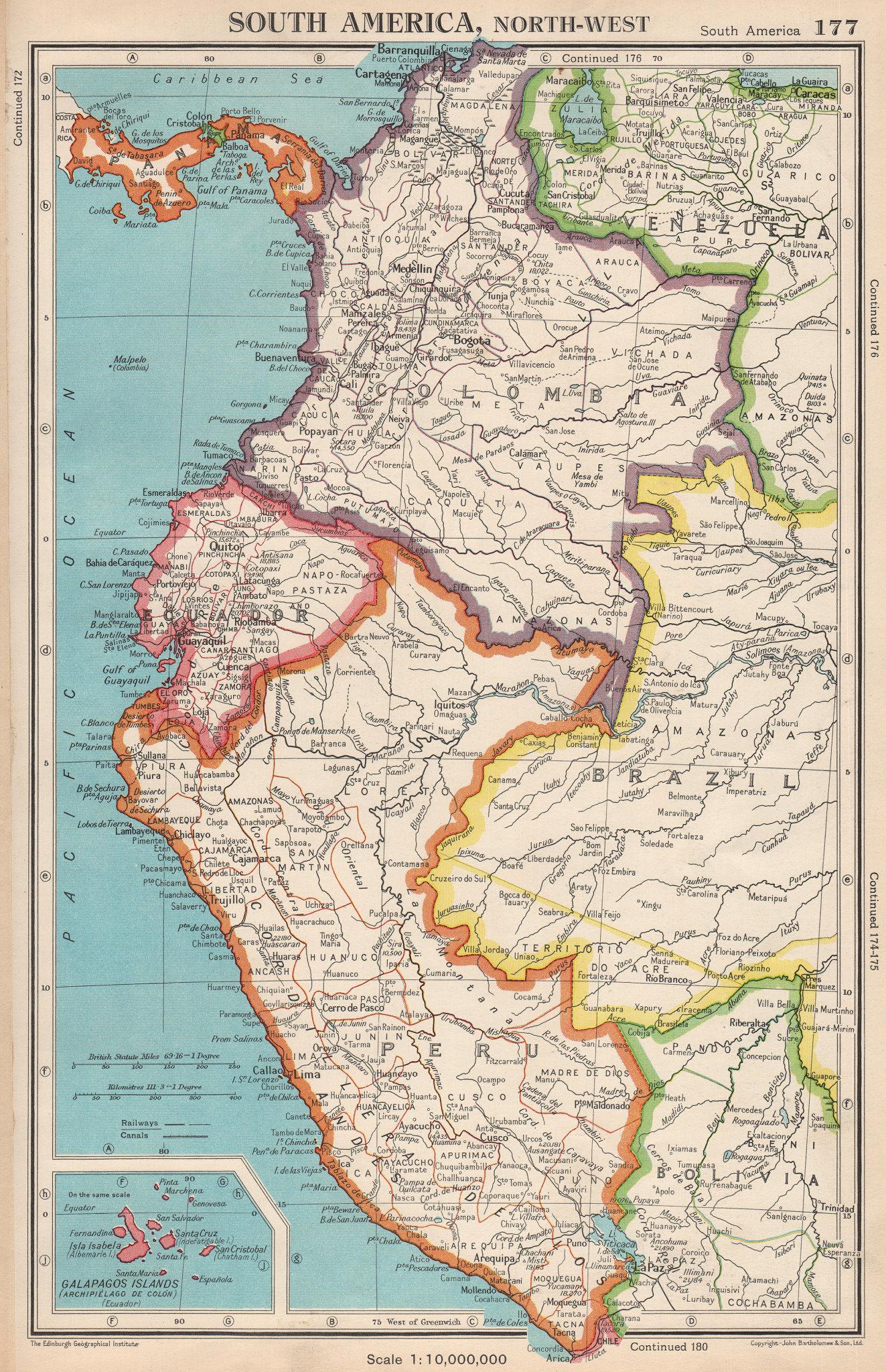Associate Product SOUTH AMERICA NORTH-WEST. Colombia Ecuador Peru Panama. BARTHOLOMEW 1952 map