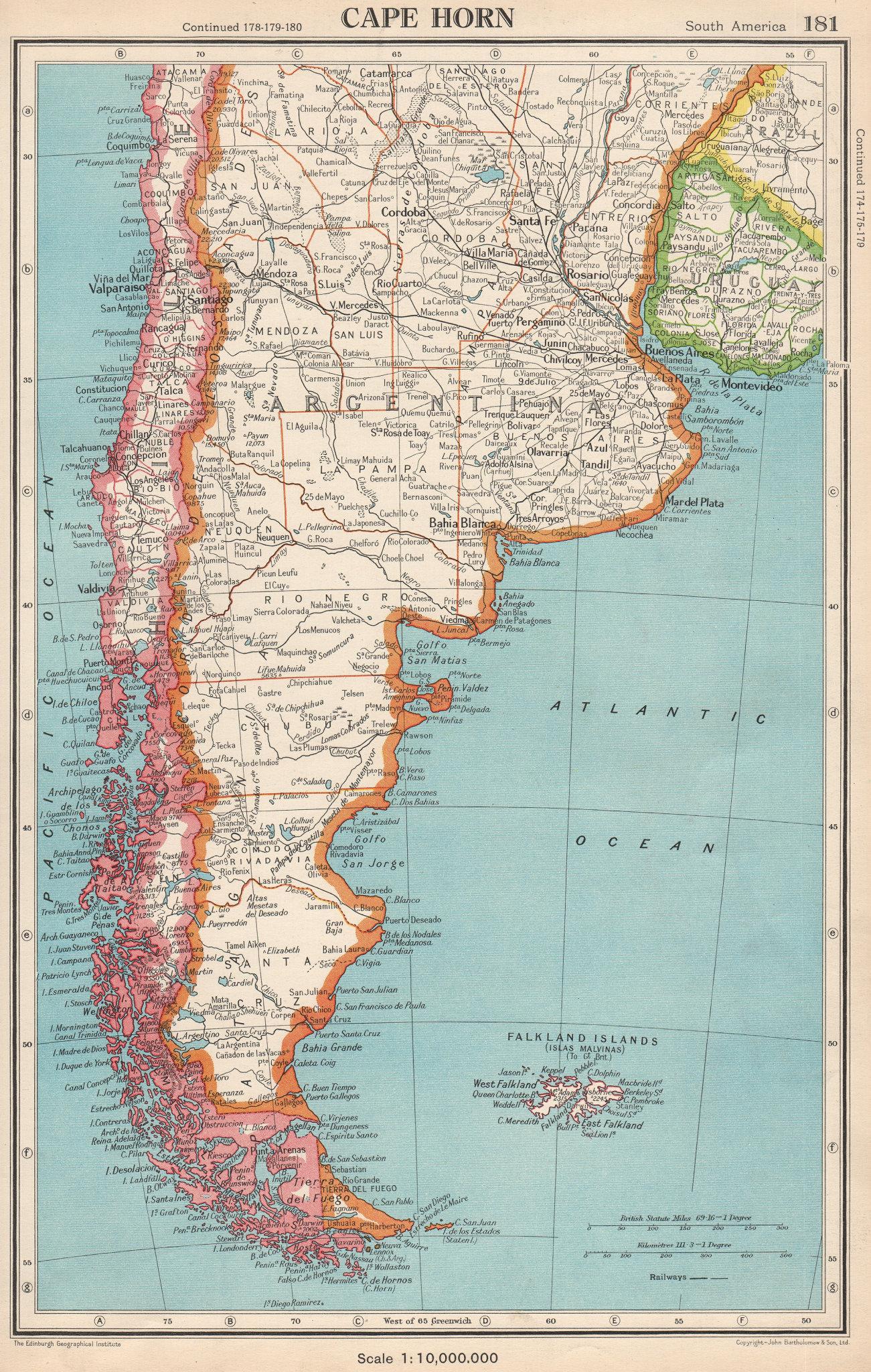 CAPE HORN. Patagonia Argentina Chile Falkland Islands. BARTHOLOMEW 1952 map