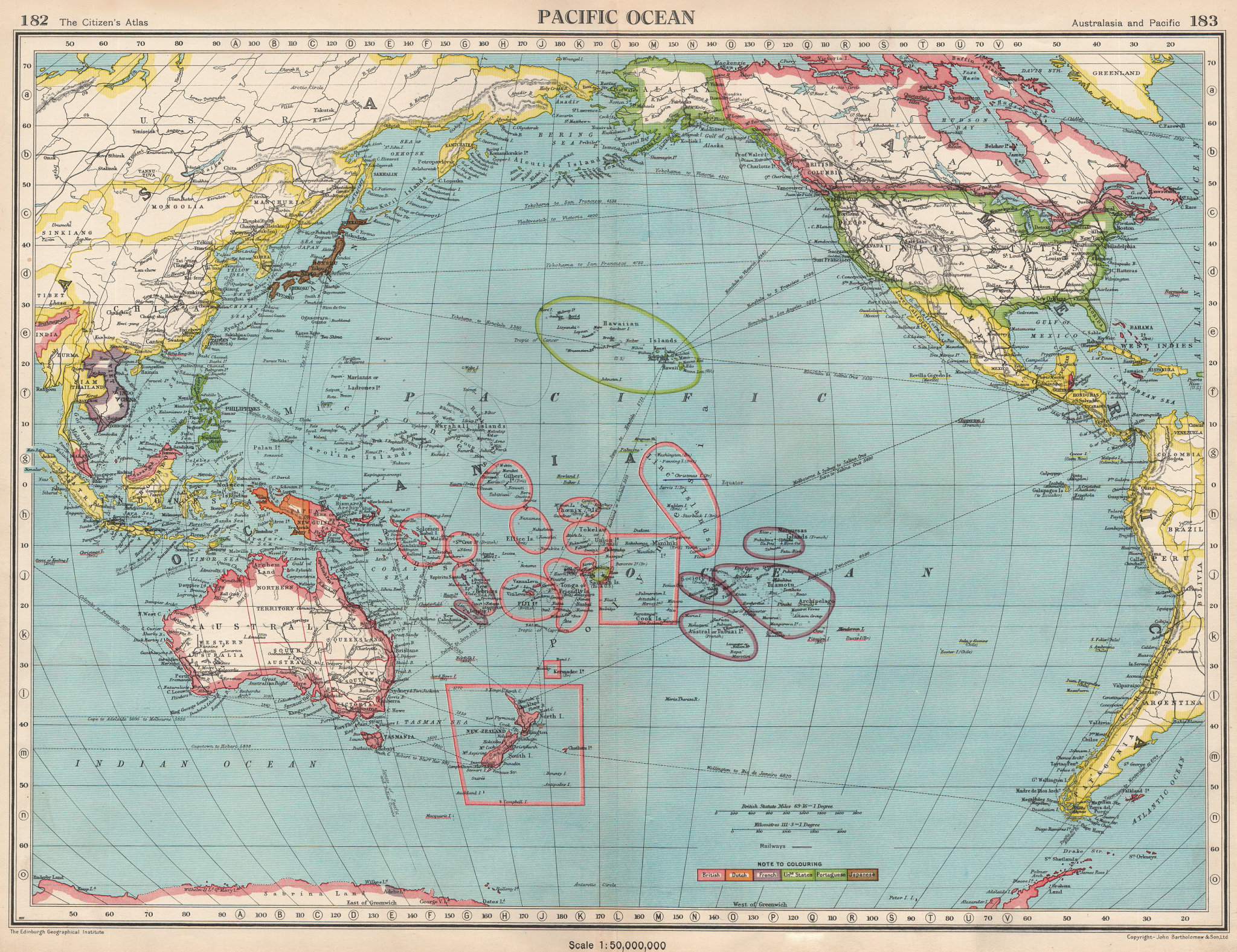 Associate Product PACIFIC OCEAN.Showing post WW2 colonies.British US French.BARTHOLOMEW 1952 map